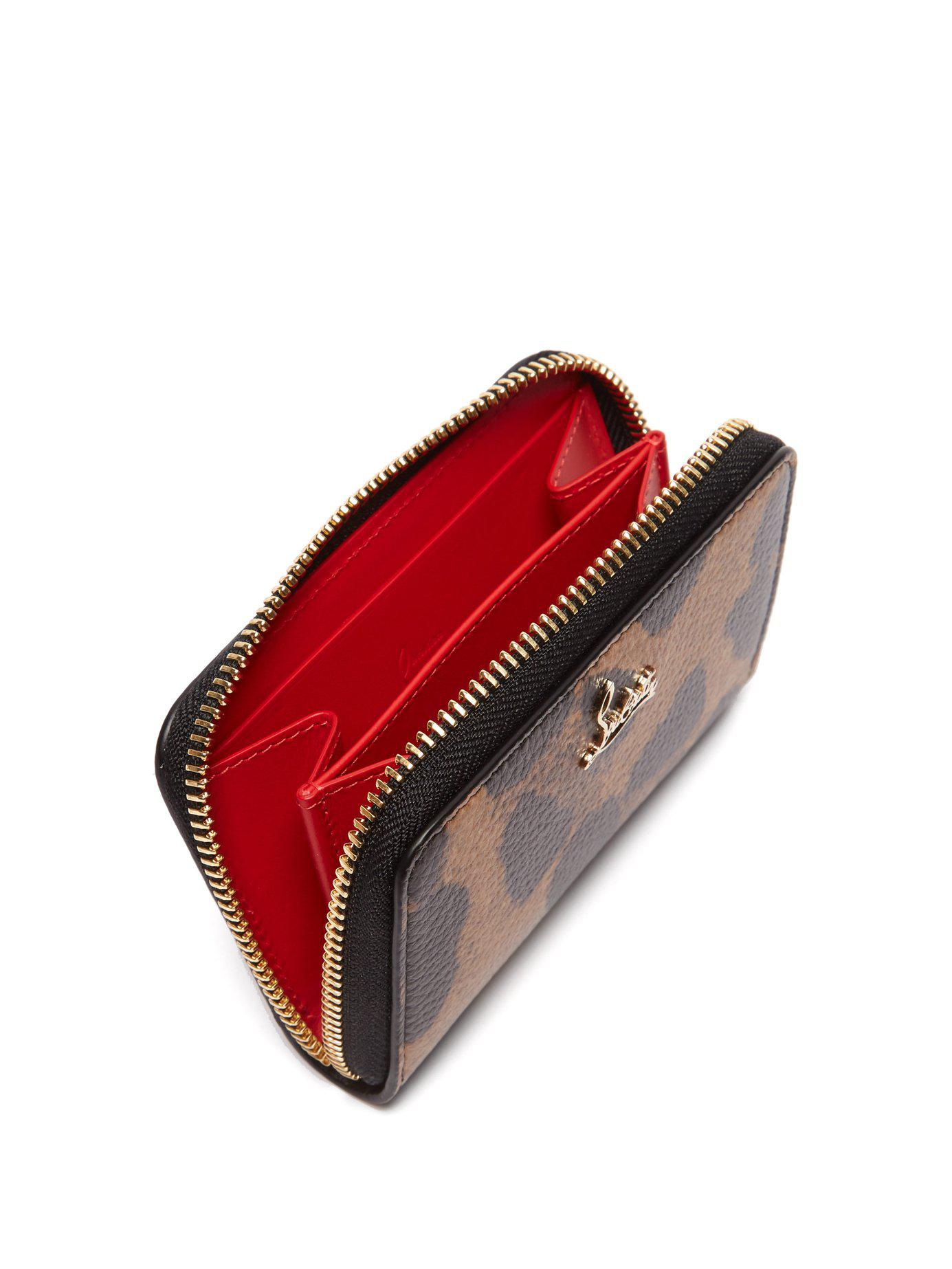 22926a3af Lyst - Christian Louboutin Panettone Leopard Print Leather Coin Purse in  Brown