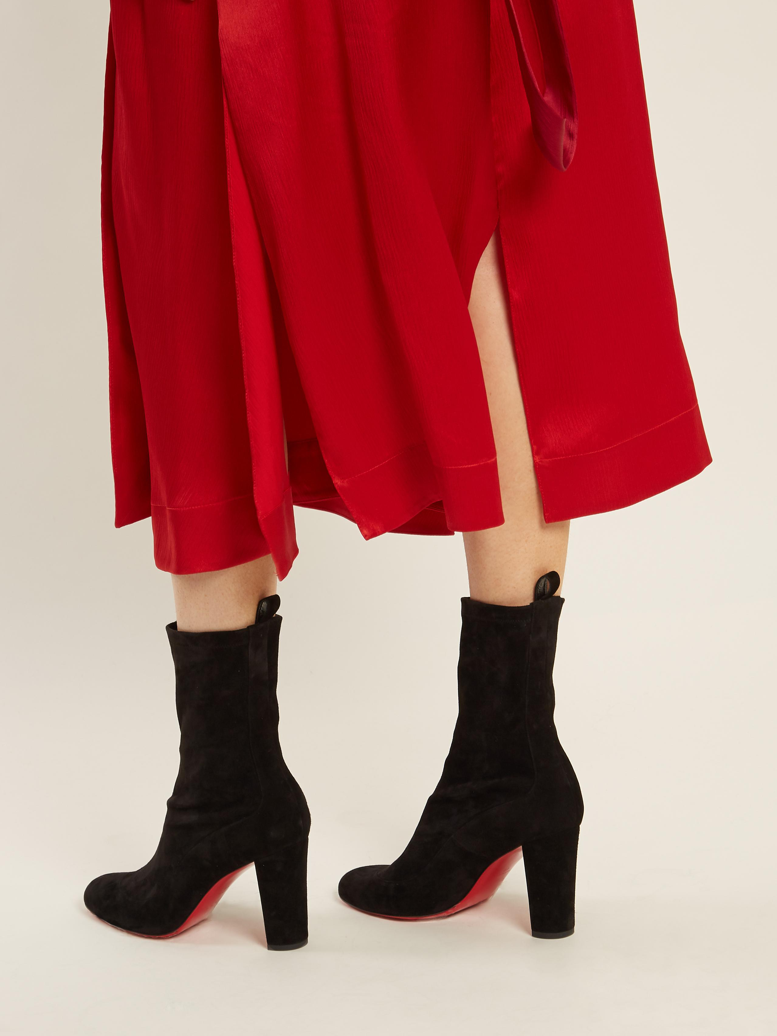 best service 7d9a3 fc983 Christian Louboutin Gena Suede Ankle Boots in Black - Lyst