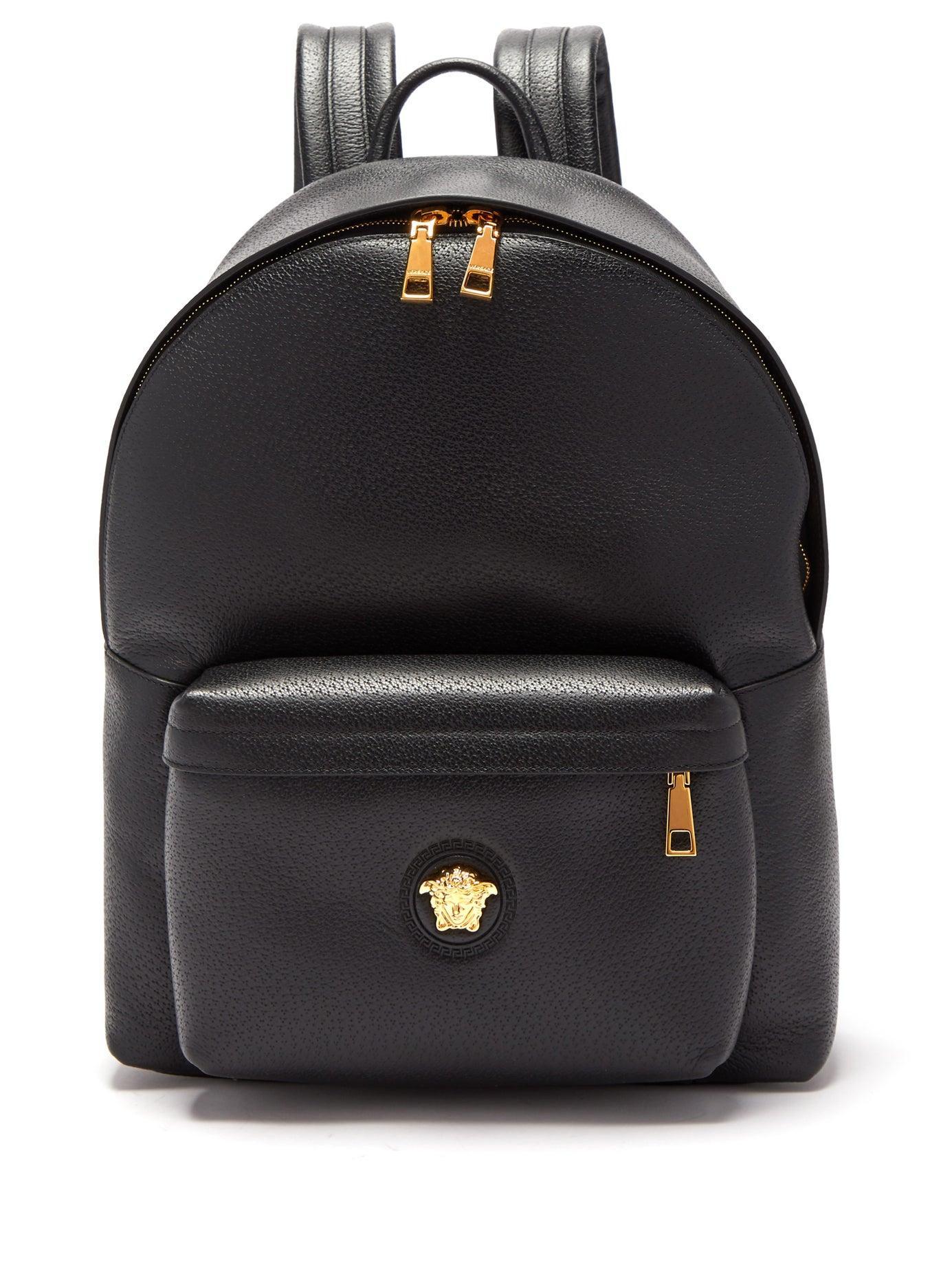 2940b54d450 Versace Medusa Head Leather Backpack in Black for Men - Lyst