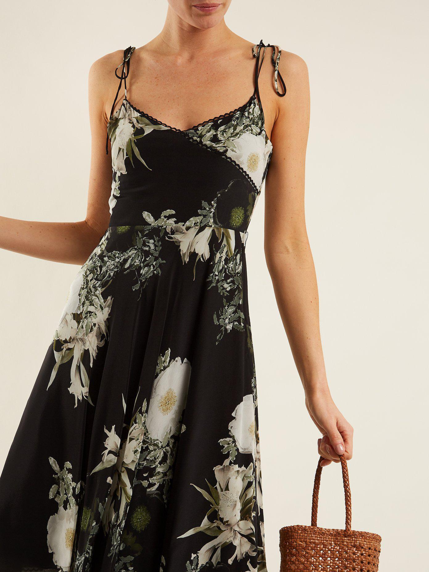In The Still Of The Night floral-print silk dress Athena Procopiou hD2z1W