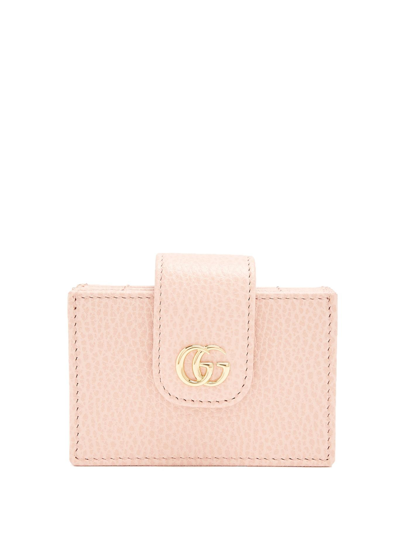 Gucci gg marmont expandable leather cardholder in pink lyst gucci womens pink gg marmont expandable leather cardholder magicingreecefo Images