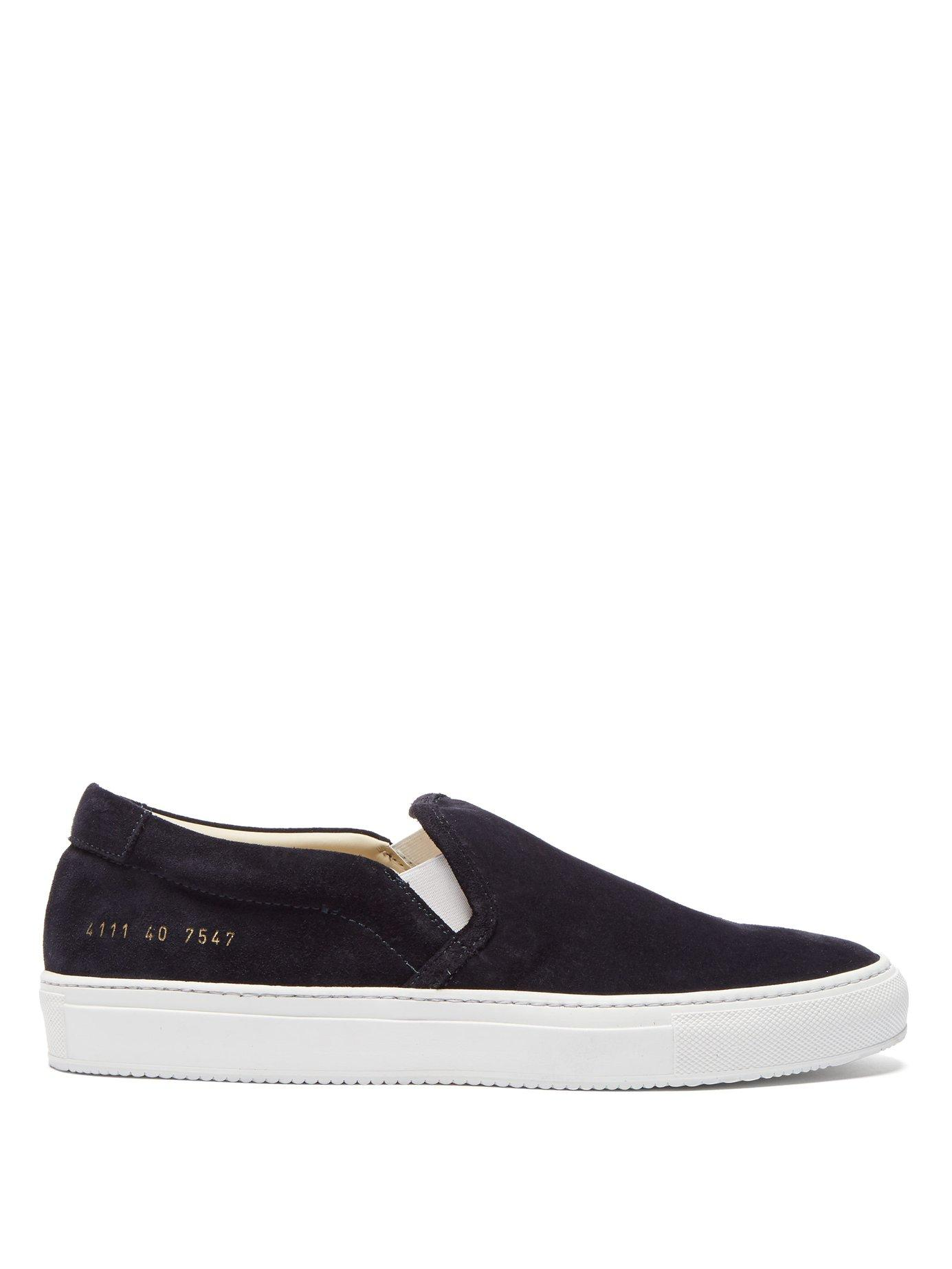 51c5304ee2d2 Lyst - Common Projects Slip On Low Top Suede Trainers in Black