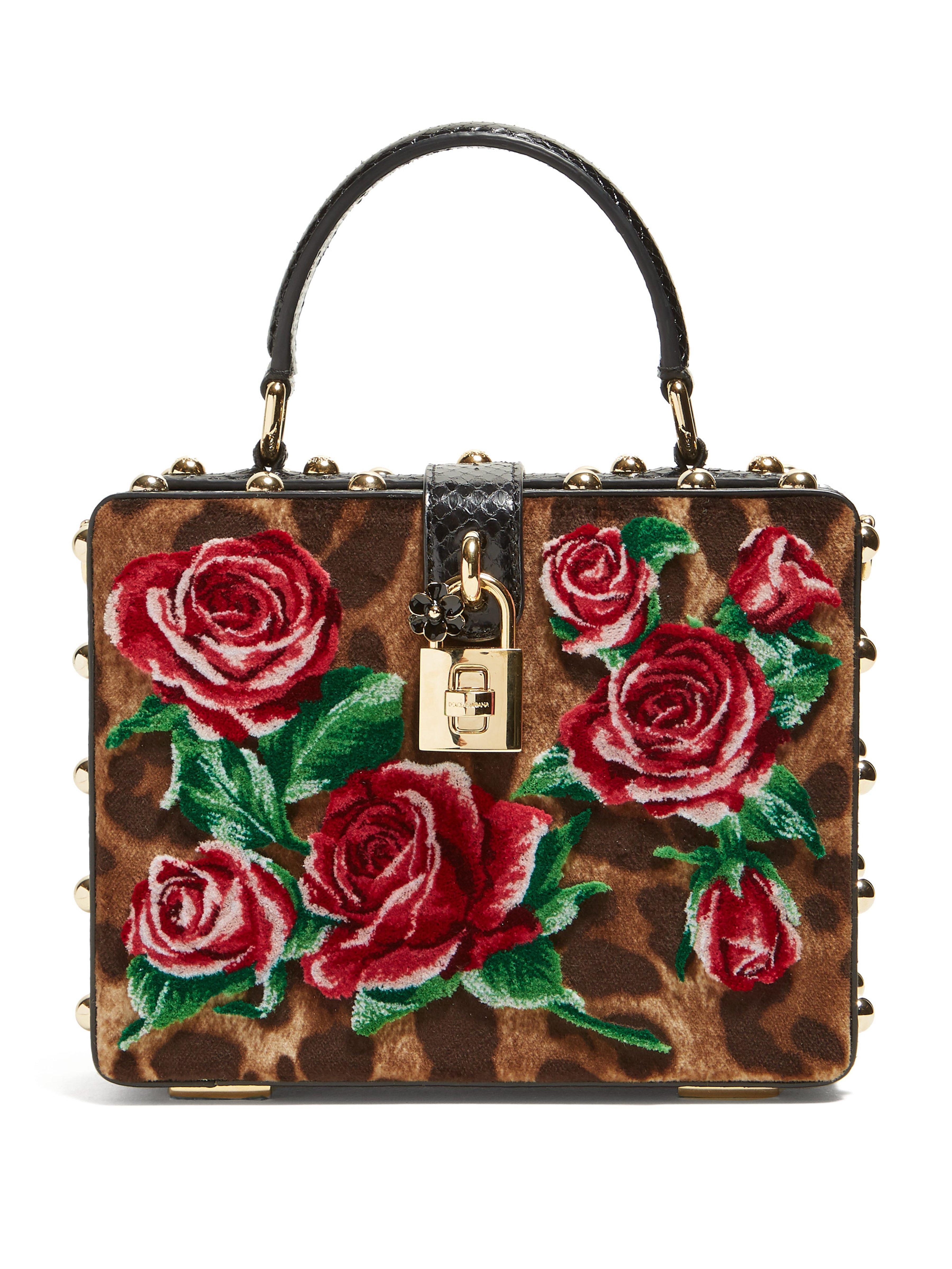 Dolce   Gabbana. Women s Leopard Print And Roses Velvet Box Bag f91751ced008f