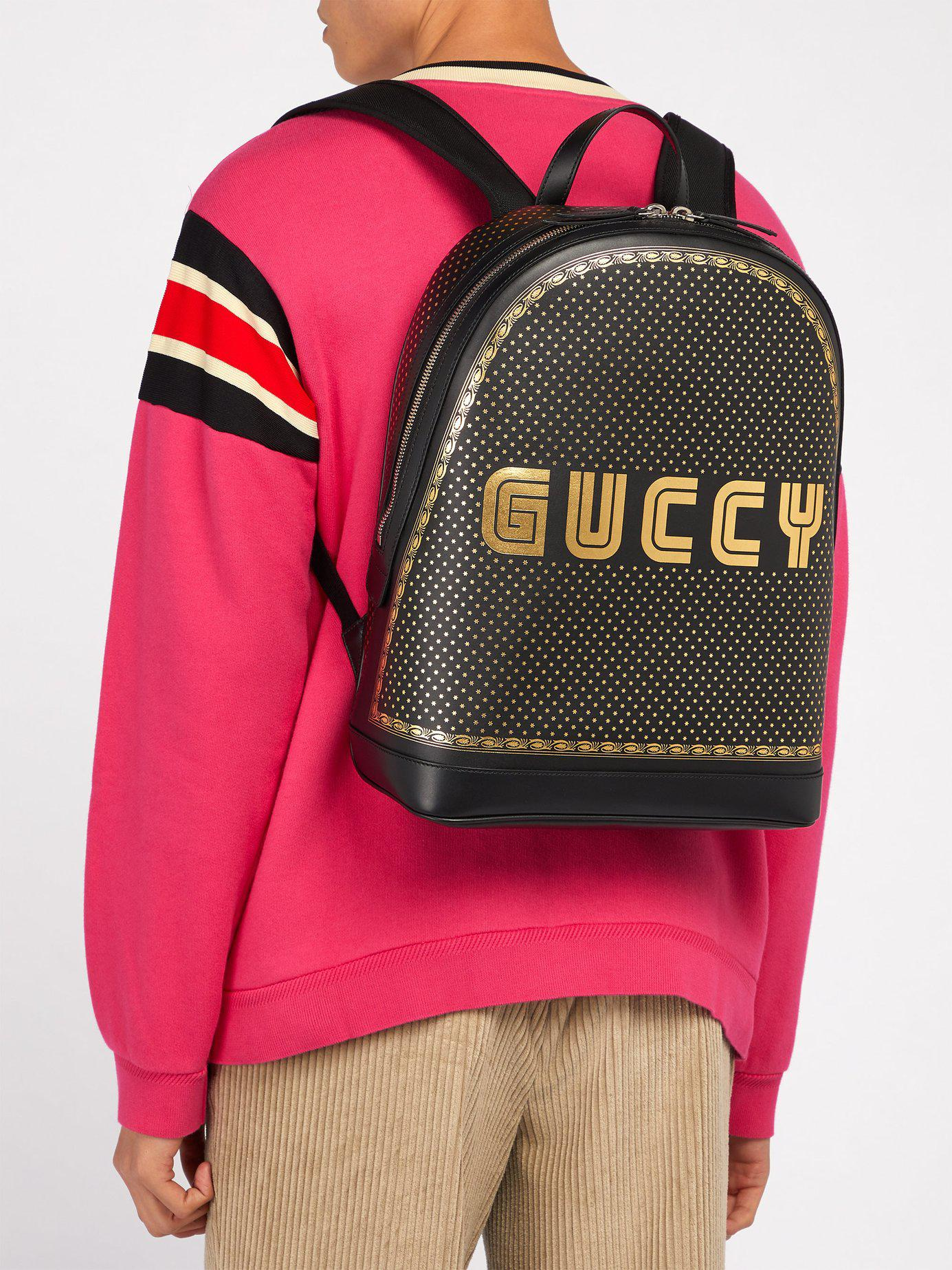 Gucci - Black Guccy Leather Backpack for Men - Lyst. View fullscreen a8681eea24c2f
