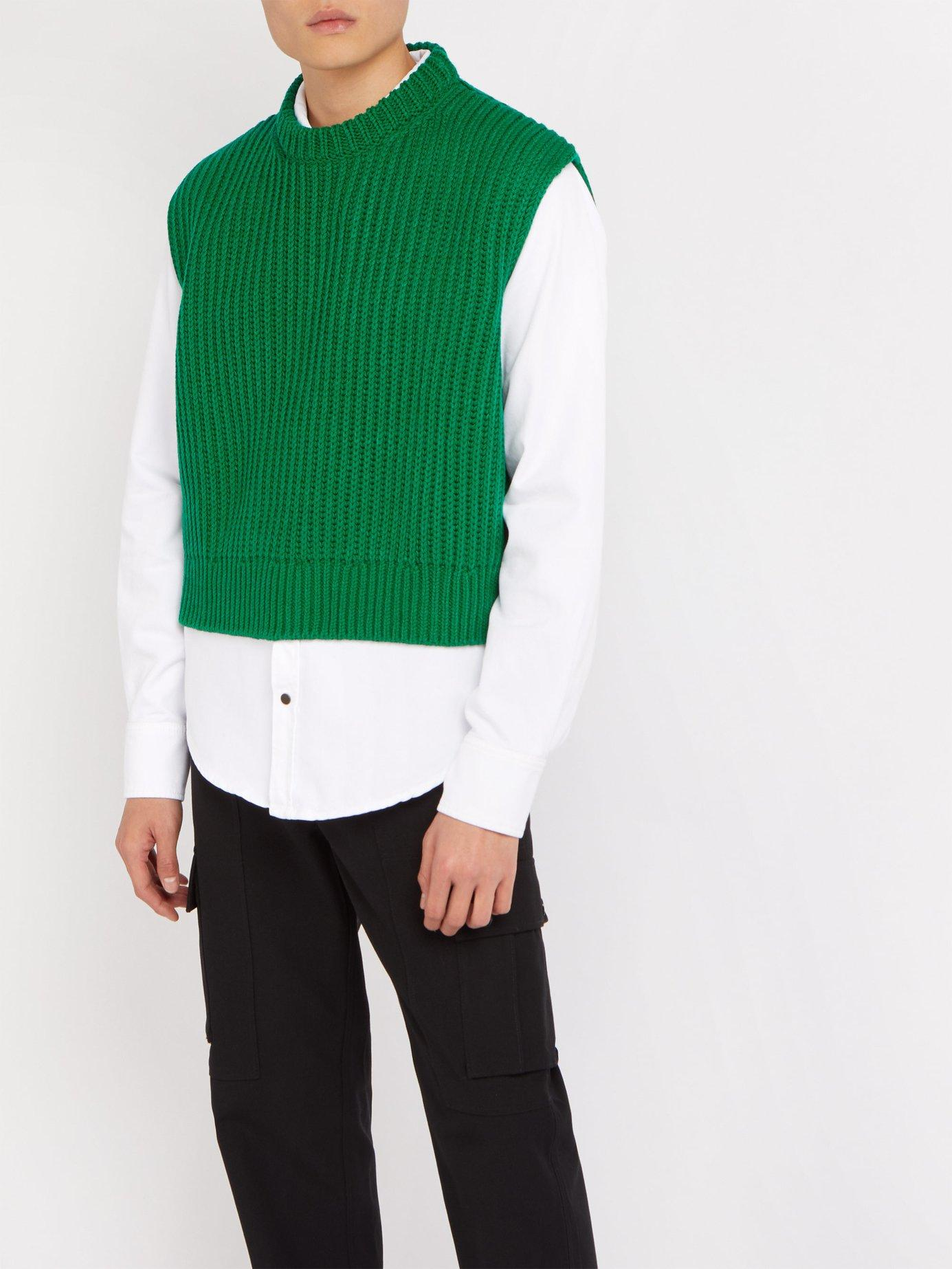 ec07196114f07 Lyst - CALVIN KLEIN 205W39NYC Cropped Ribbed Knit Sleeveless Sweater in  Green for Men