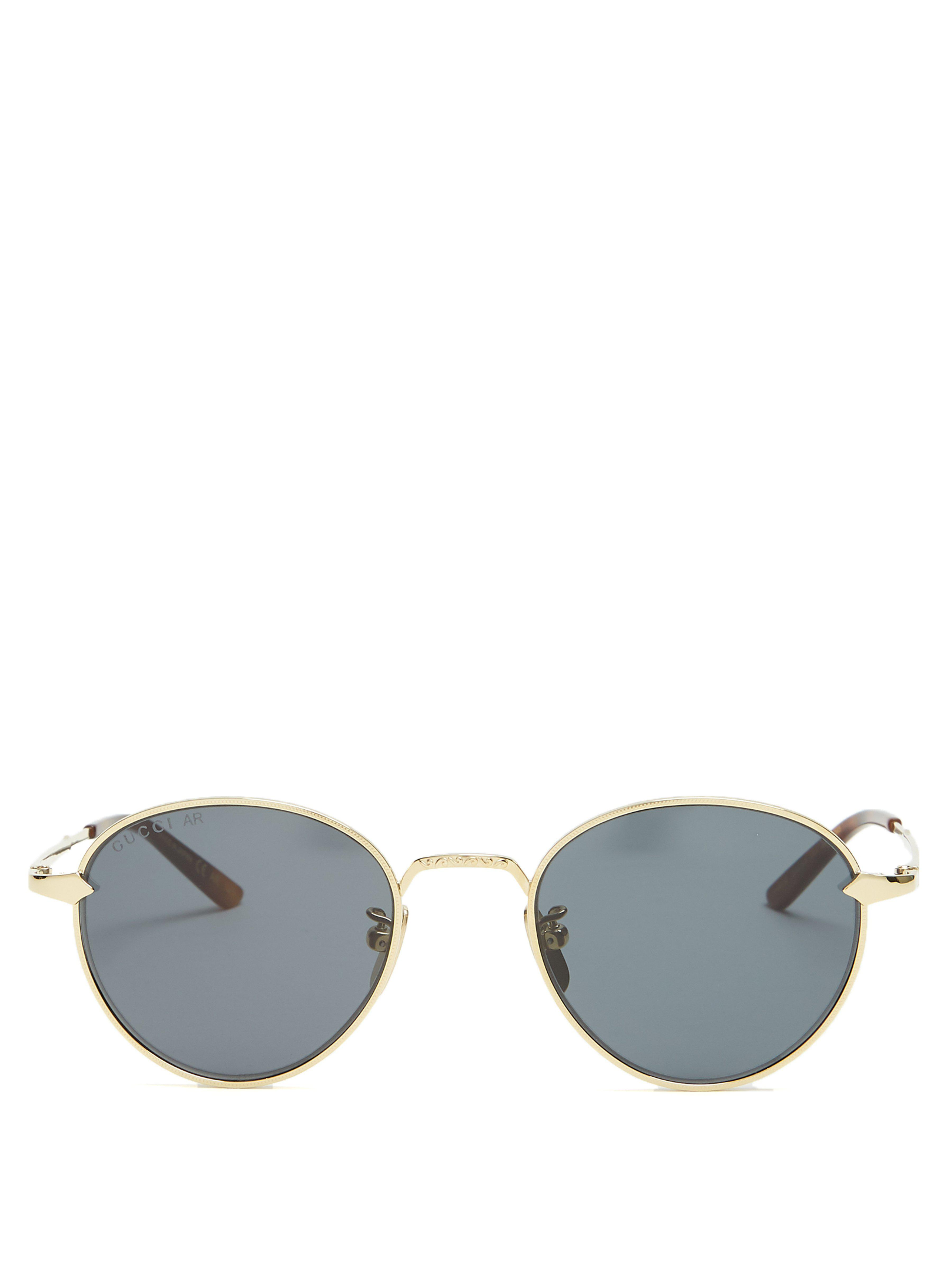 a2938a1ce37 Gucci Round Frame Sunglasses in Metallic for Men - Lyst