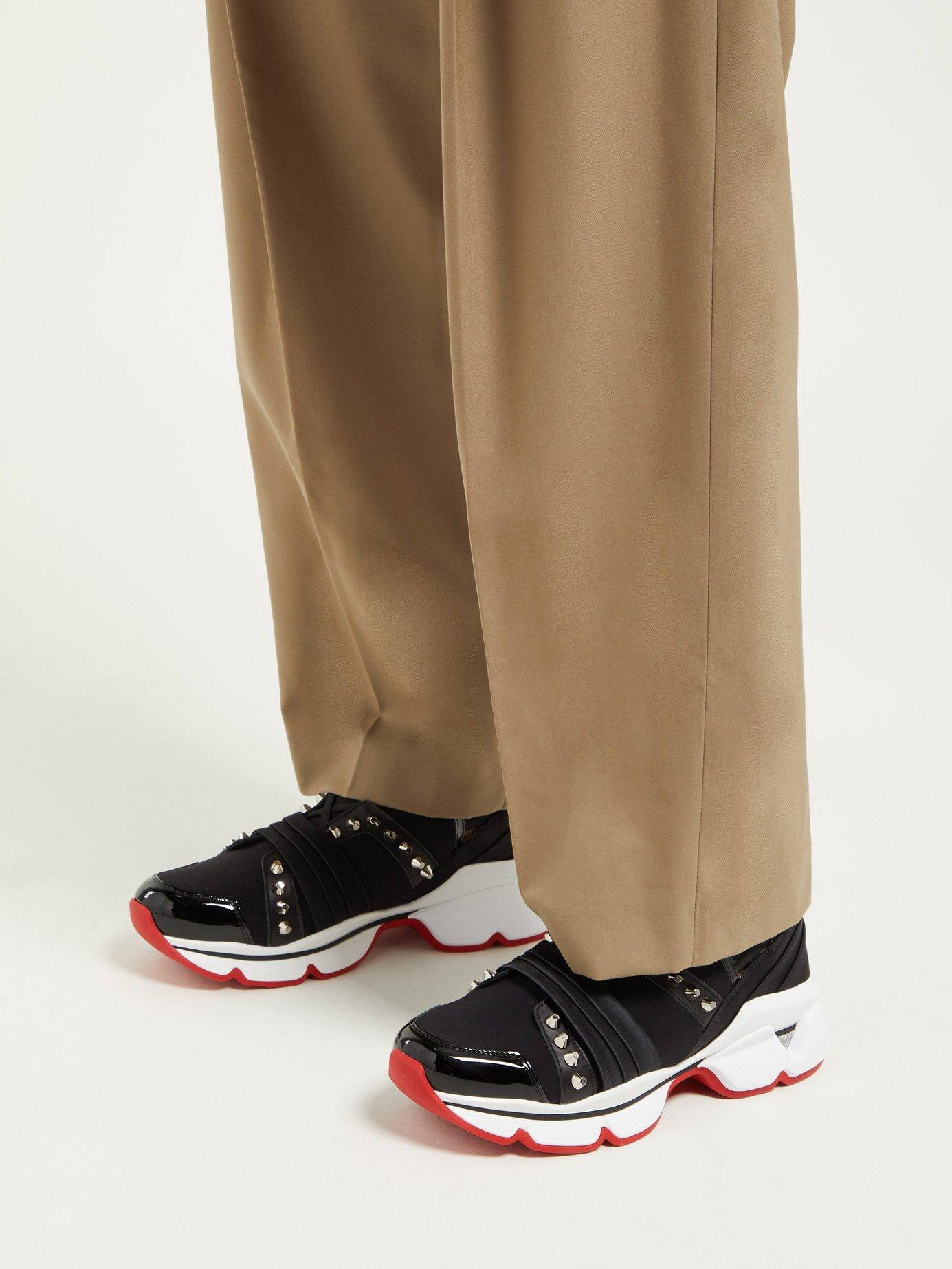 cb498707714 Women's Black 123 Run Studded Low Top Sneakers