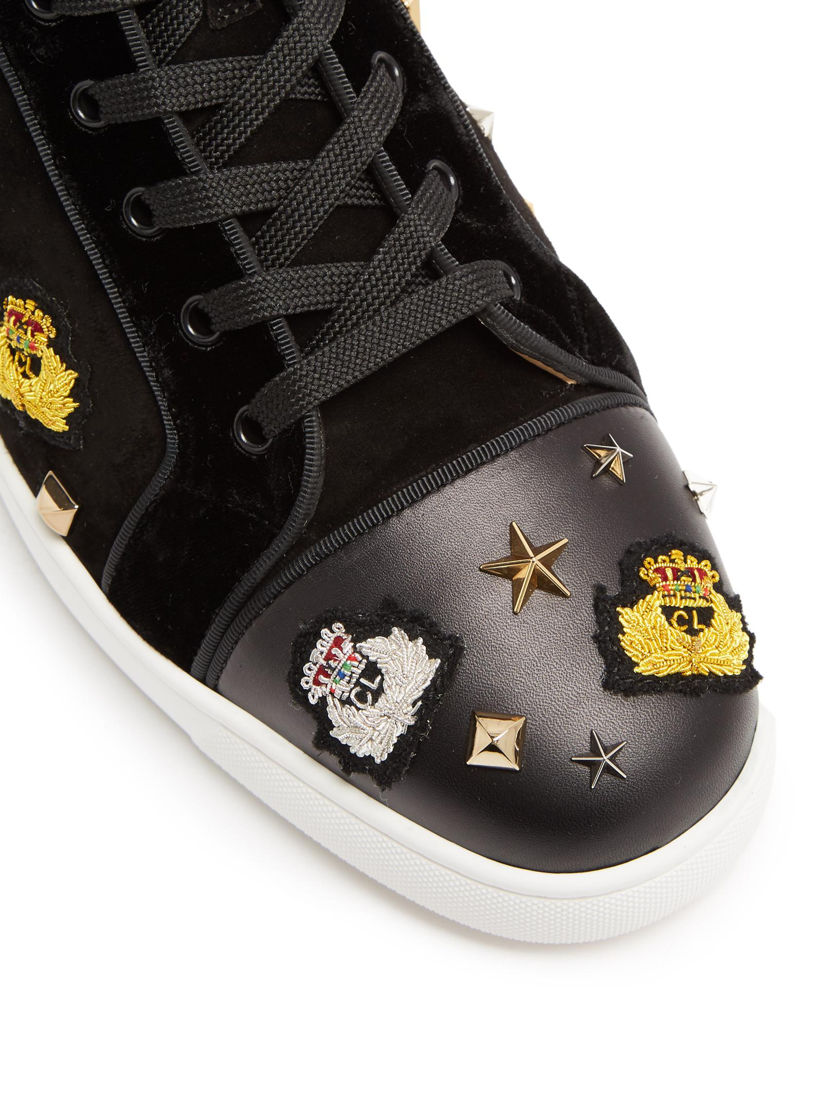 640c322f755 Christian Louboutin Black Loubacademia Embellished High-top Suede Trainers  for men