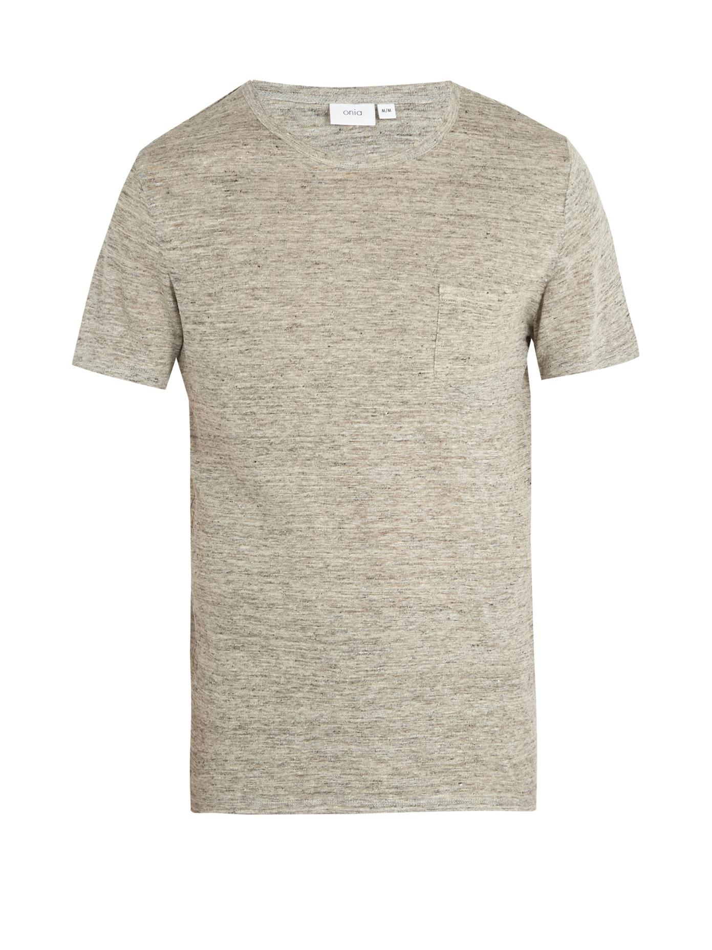 Free Shipping Pictures ONIA Chad Linen Blend Pocket T-Shirt Footlocker Finishline For Sale Cheap Sale Hot Sale Clearance Authentic v0Srh