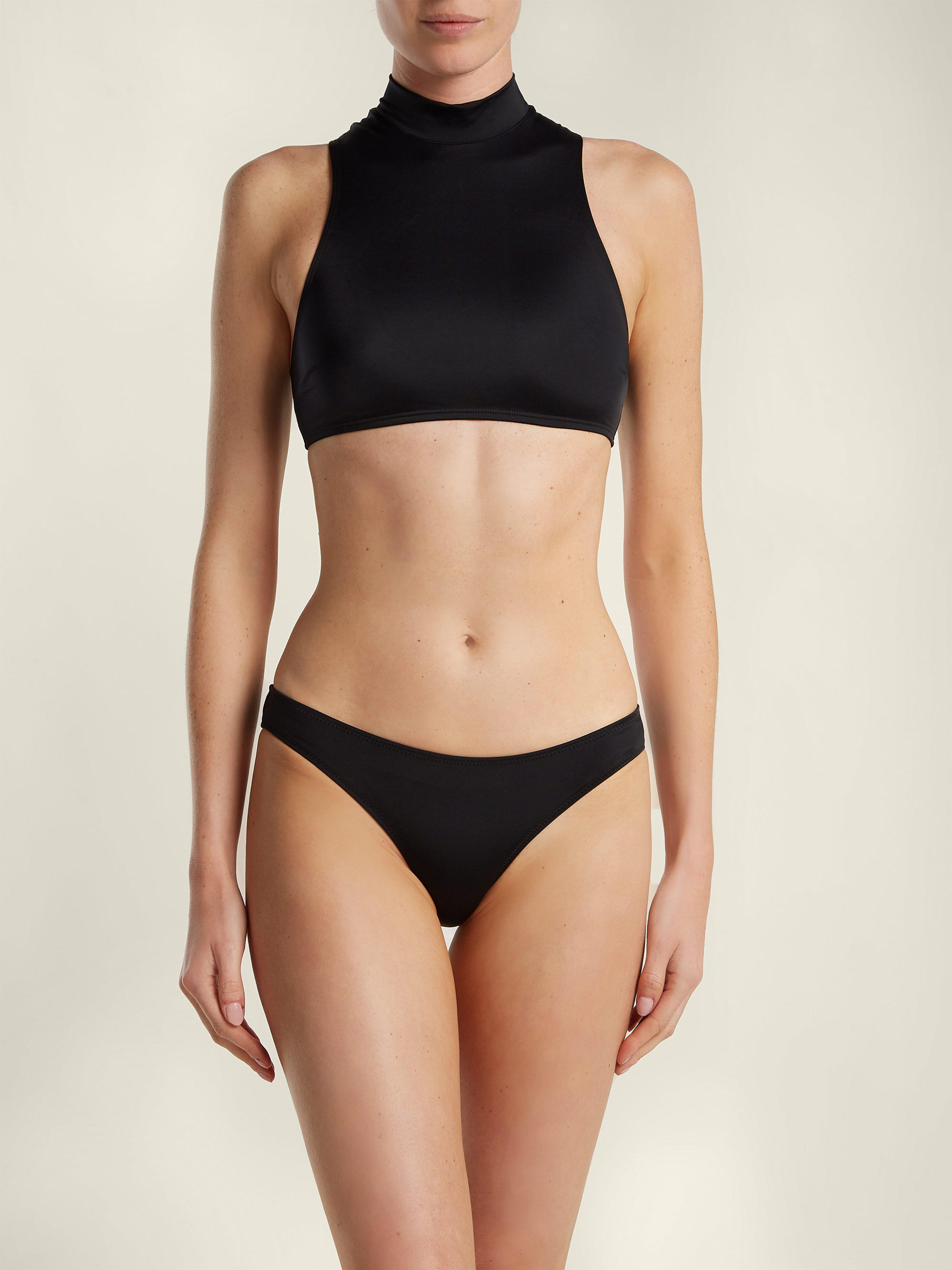 ad065107fe Solid   Striped The Tiffany High Neck Bikini Top in Black - Lyst