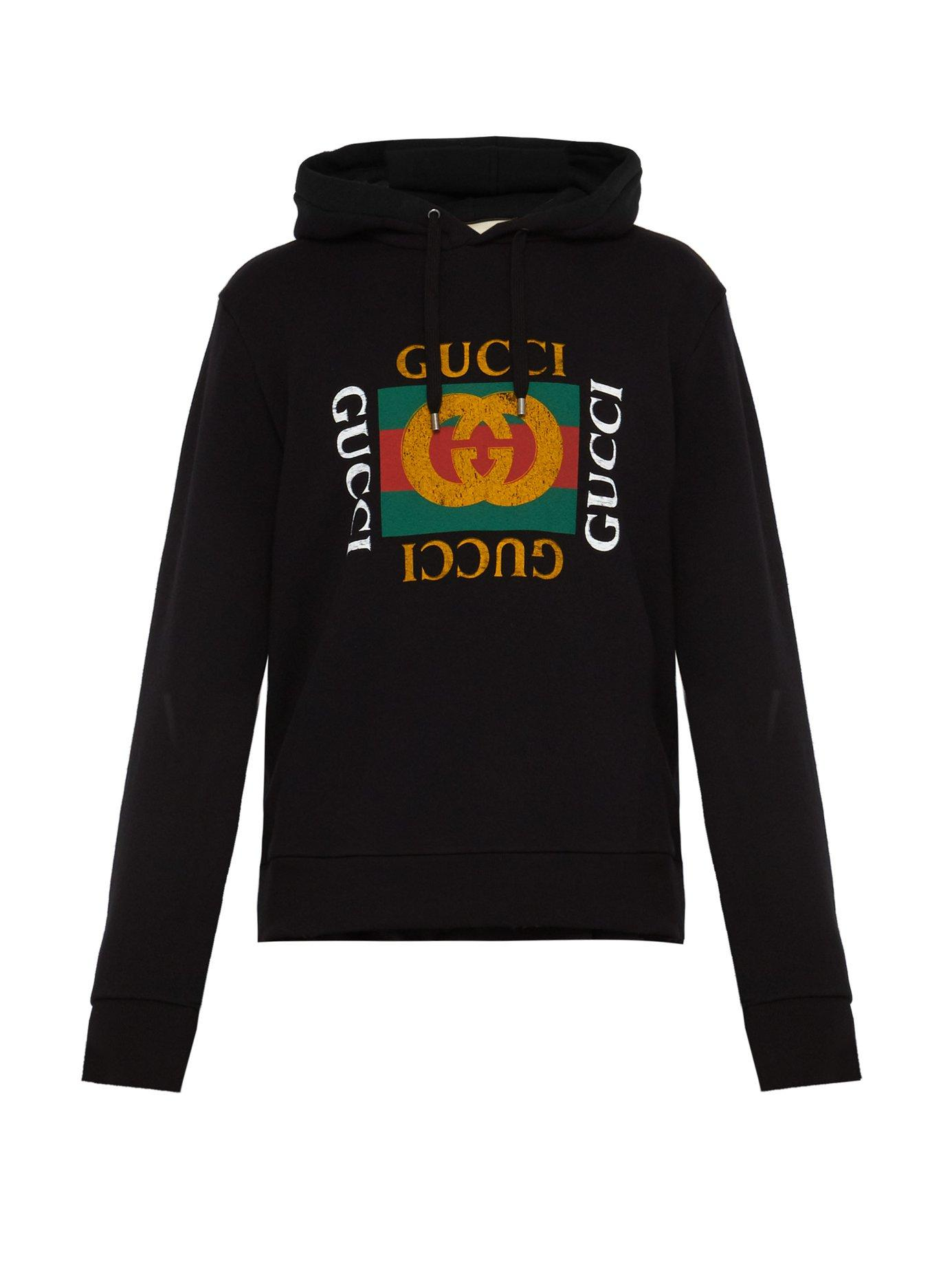 53f1cbda244 Gucci - Black Cotton Sweatshirt With Logo for Men - Lyst. View fullscreen