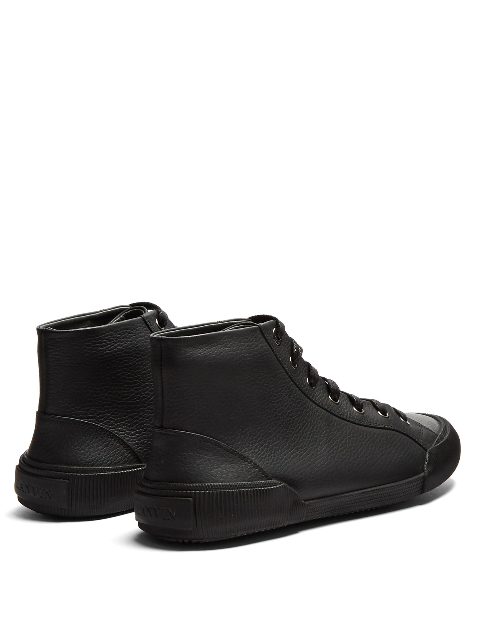 Lanvin High-top Grained-leather Trainers in Black for Men
