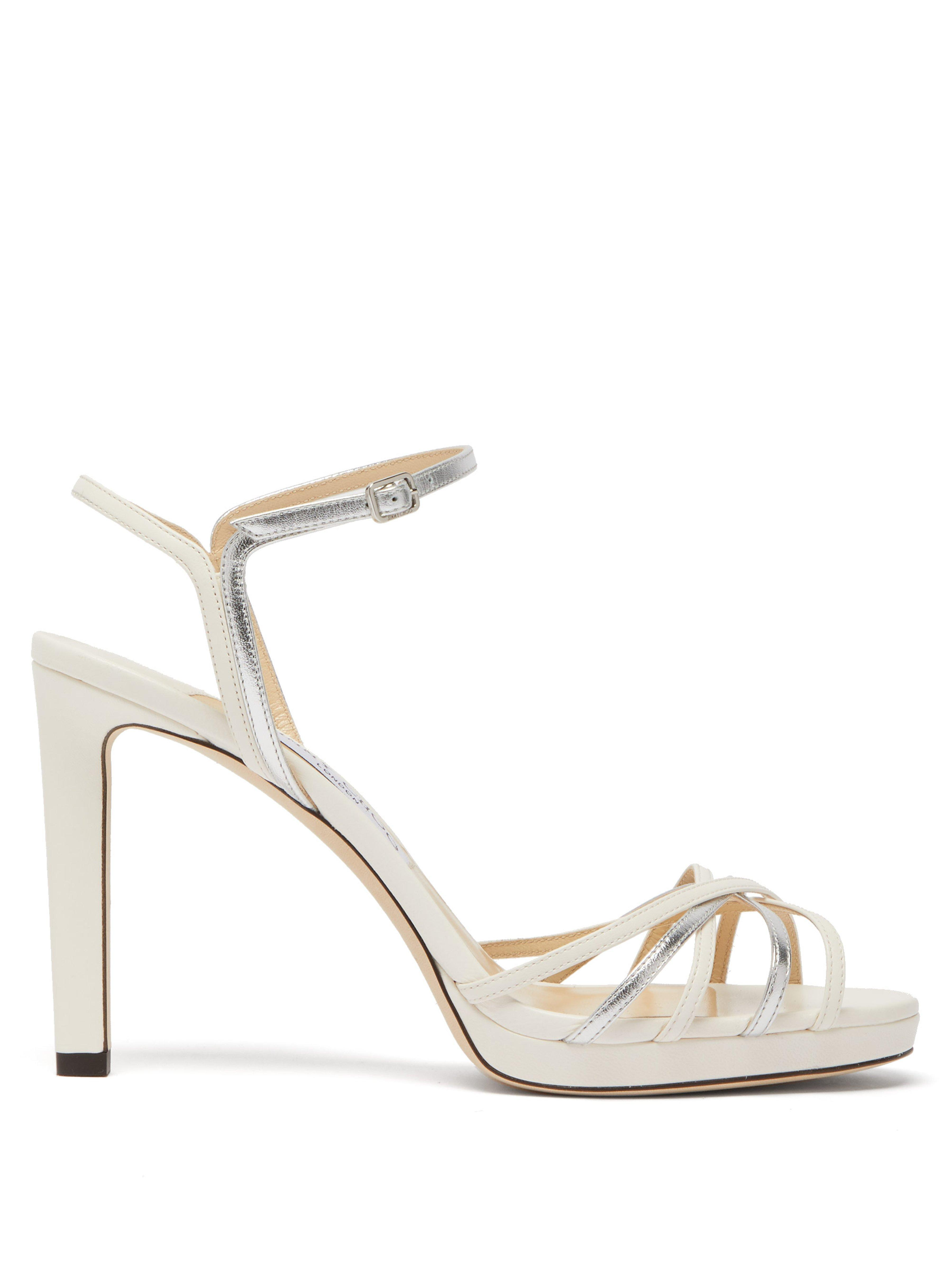 de526b9588 Jimmy Choo Lilah 100 Metallic Leather Sandals in Metallic - Lyst