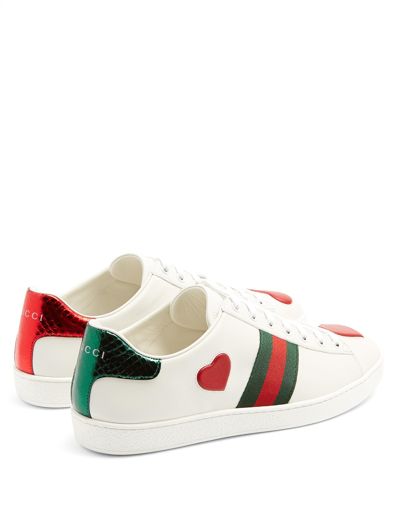 f314ebc1504 Lyst - Gucci New Ace Heart-appliqué Leather Trainers in White