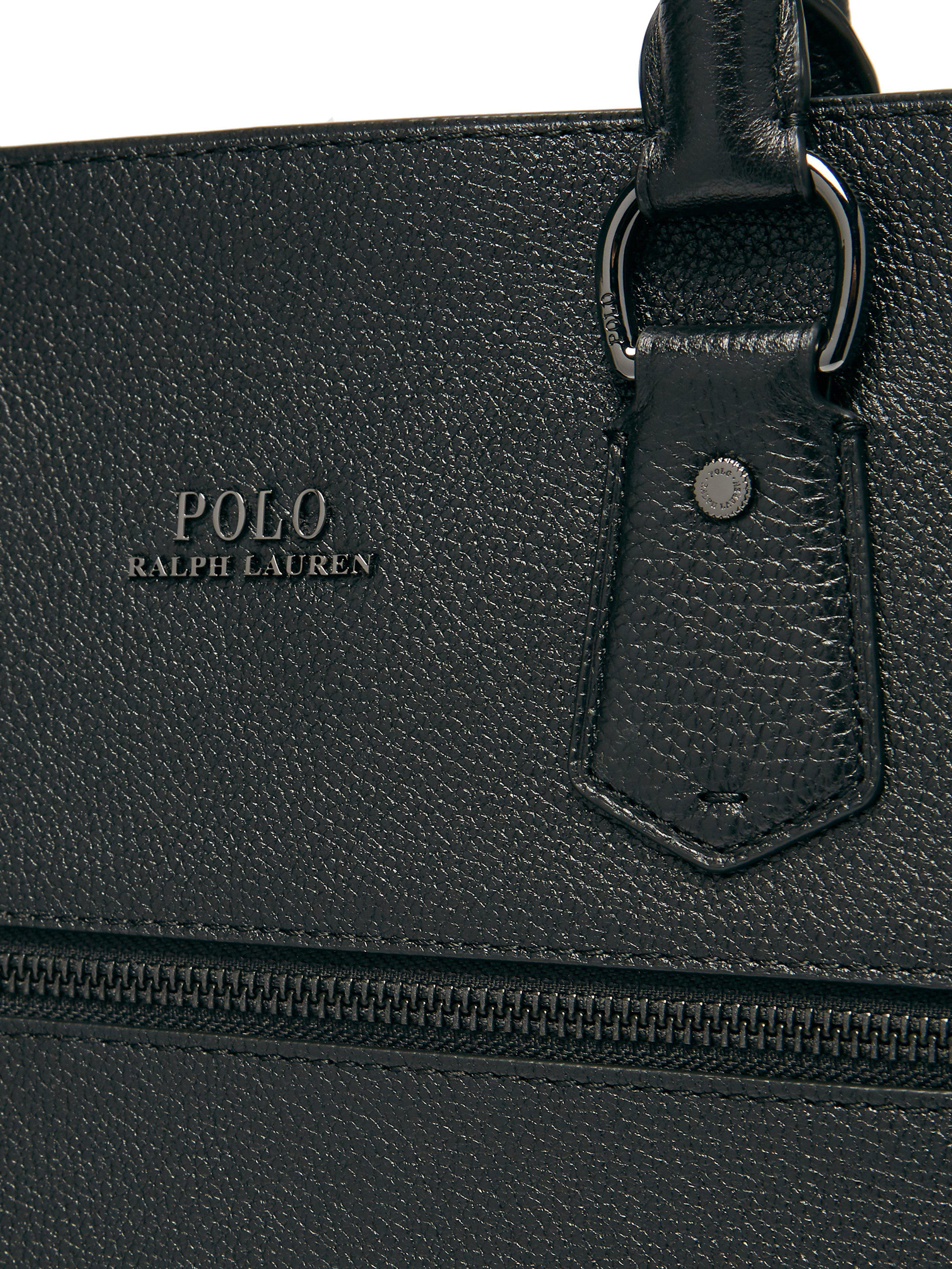 bas prix 15a7c bcb96 Sacoche en cuir Polo Ralph Lauren pour homme en coloris Black