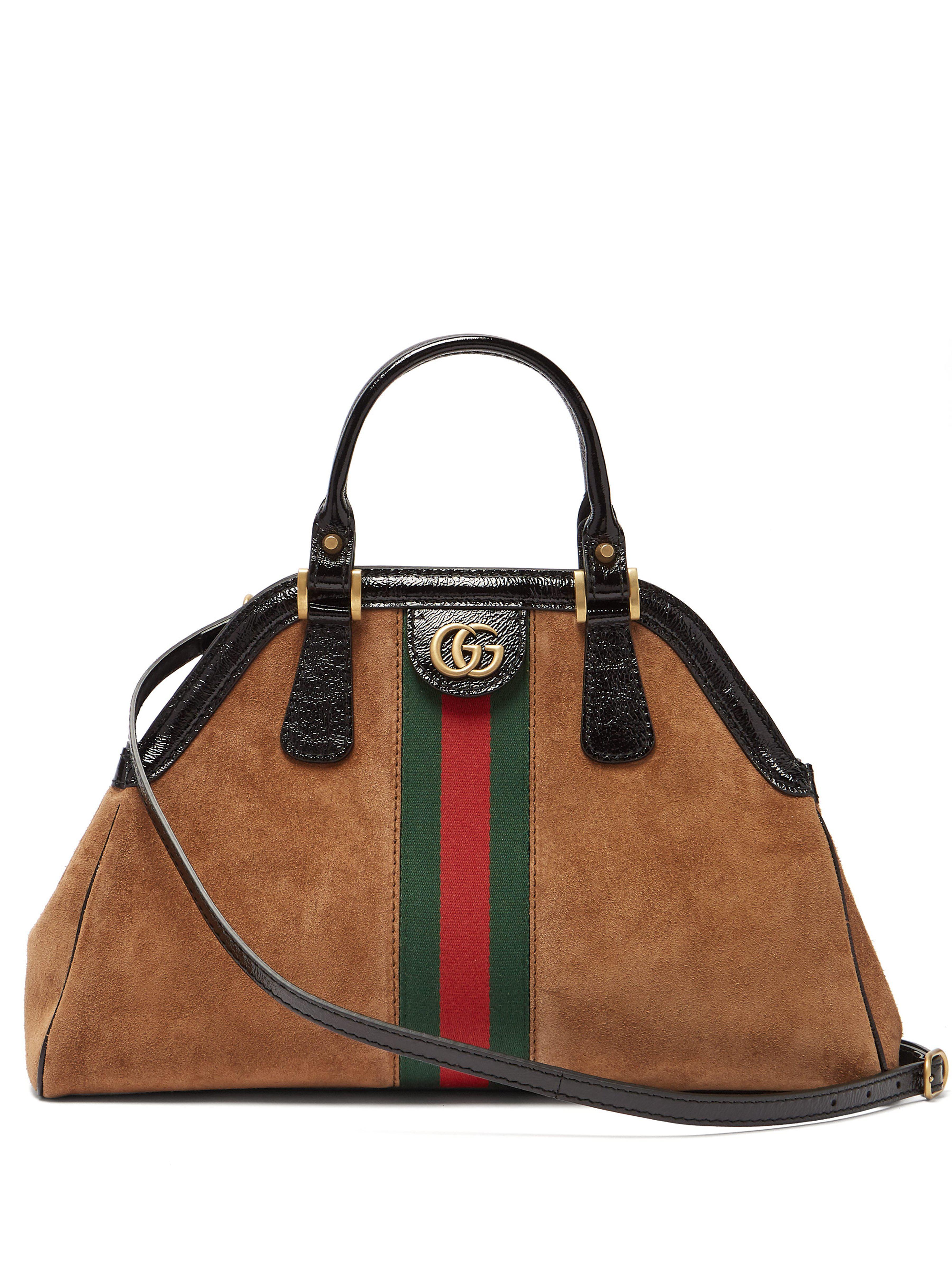 ec9a7567ad4 Gucci Re(belle) Web Stripe Suede Cross Body Bag in Brown - Save 7 ...
