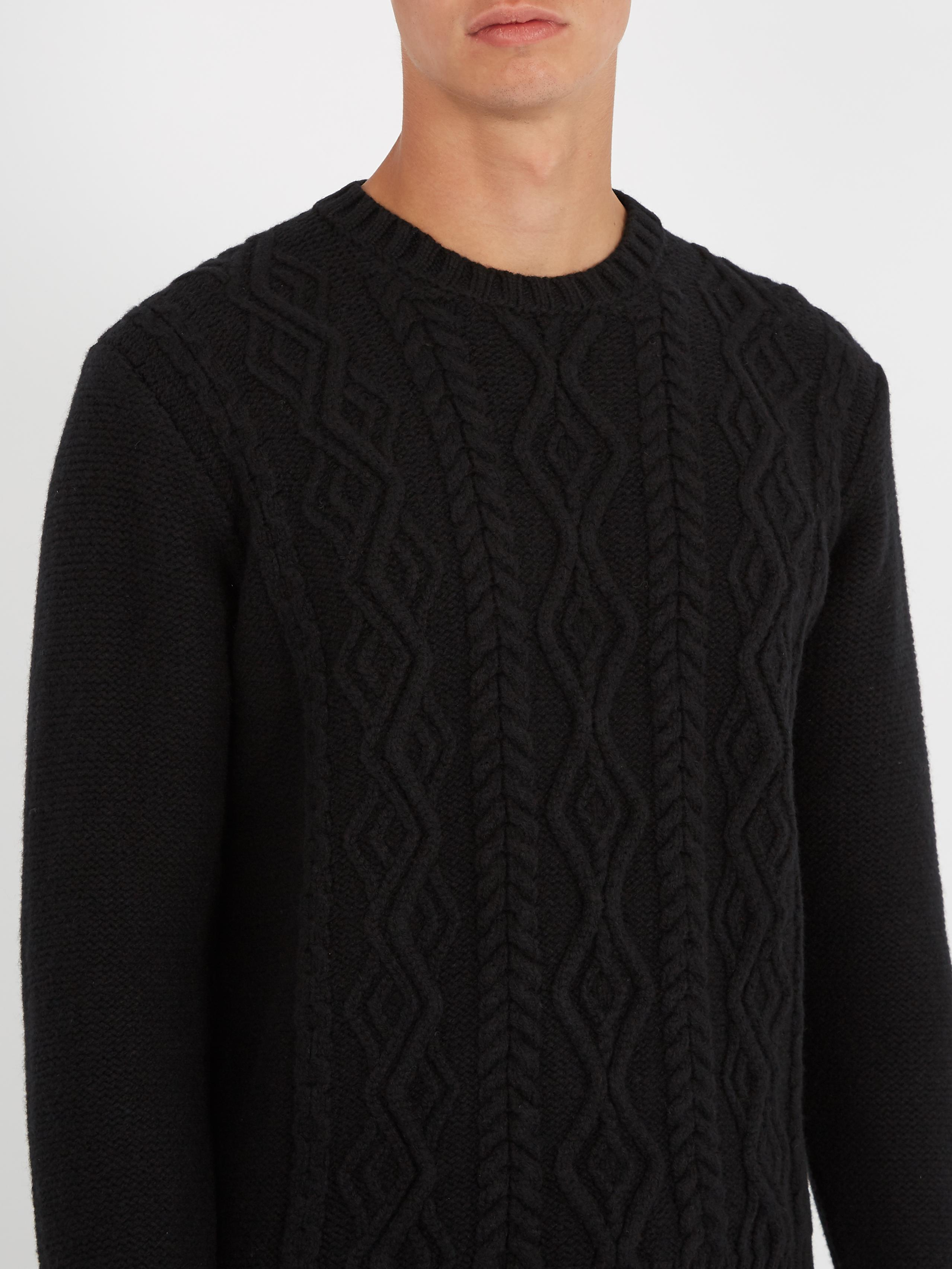Lyst - Inis Meáin Aran Cable-knit Wool Sweater in Black ...