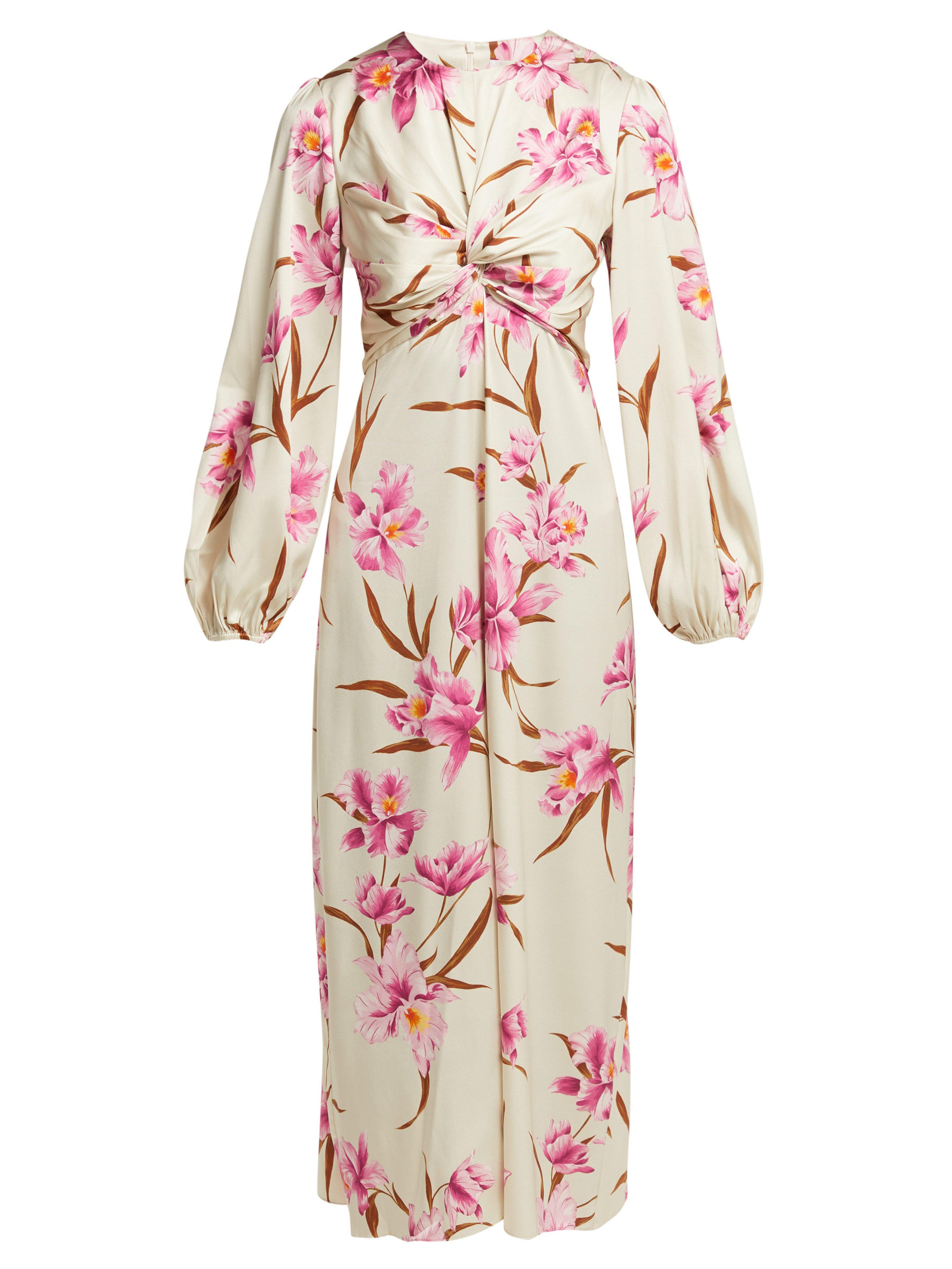 7174b1aa0b Zimmermann Corsage Orchid Print Silk Blend Midi Dress in Pink - Lyst
