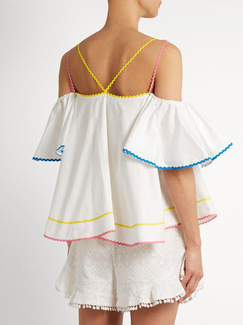 565ec2a781e74 Lyst - Anna October Off-the-shoulder Ric-rac Trimmed Top in White