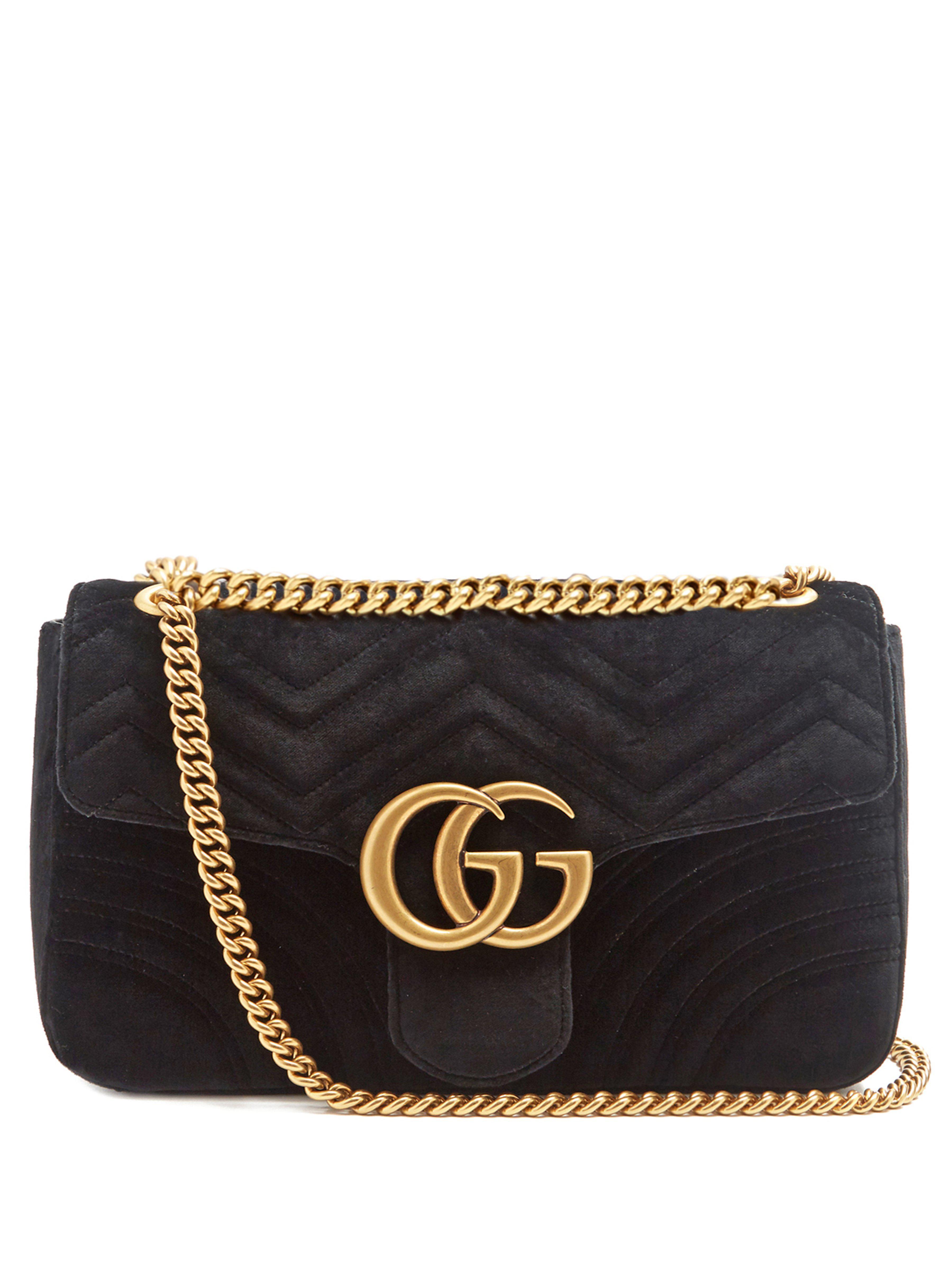 a9f31603458 Gucci Gg Marmont Medium Quilted Velvet Shoulder Bag in Black - Save ...