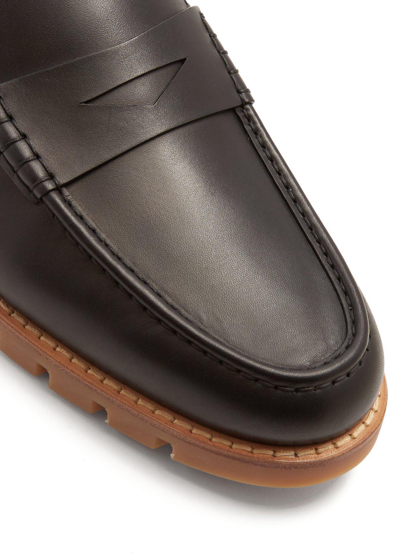 Strapped-back leather penny loafers Fendi LWfkLRgK