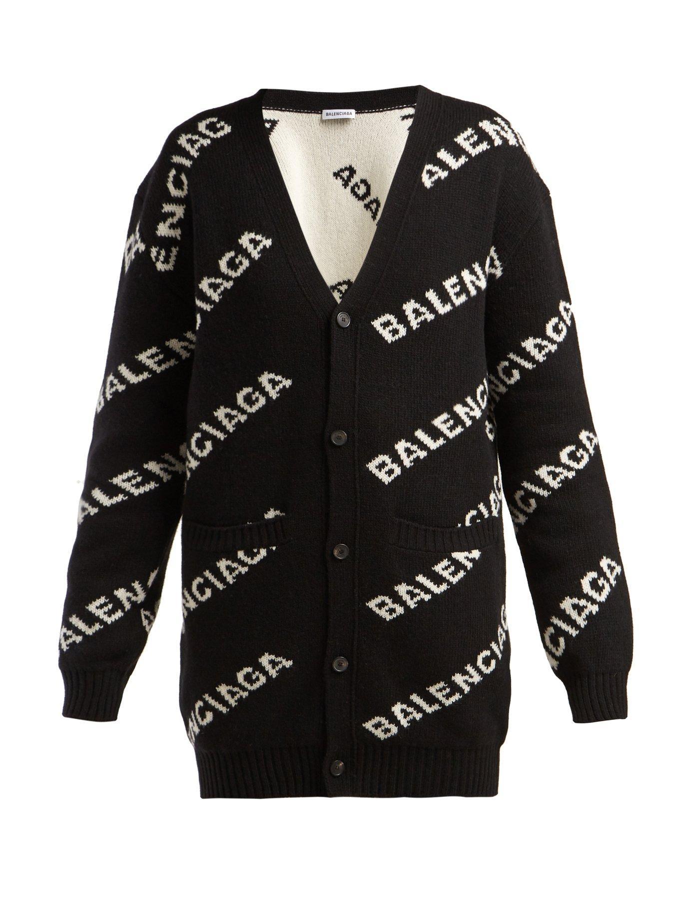 Balenciaga - Black Jacquard Oversized Logo Cardigan - Lyst. View fullscreen 294d34817