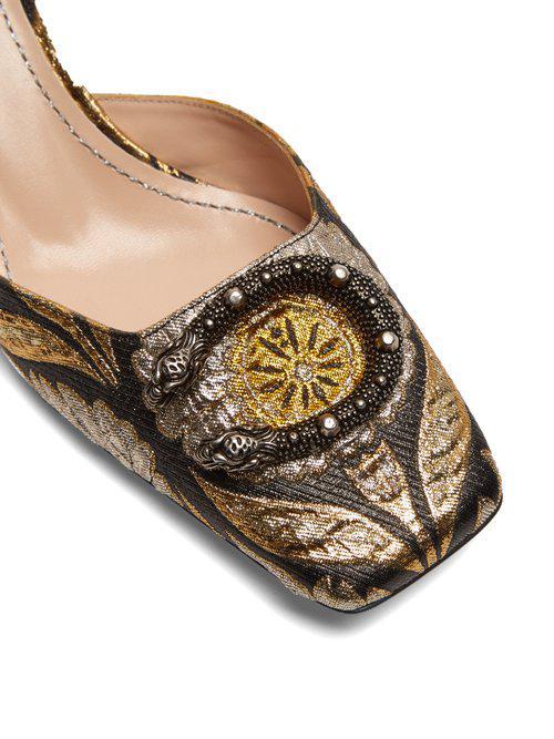 2cc08f1ab Gucci Dionysus Jacquard Kitten-heel Pumps - Lyst