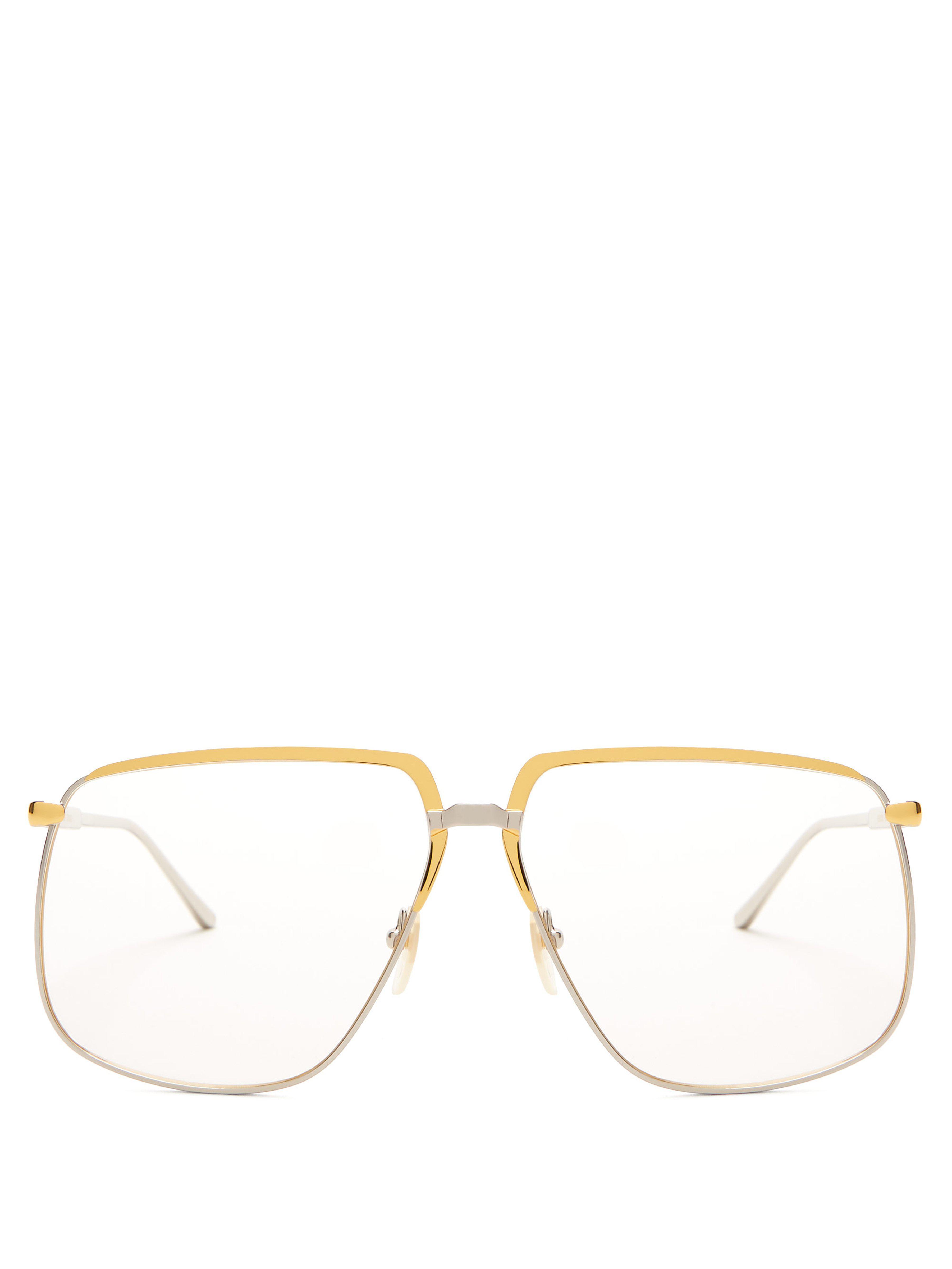 0da7fcec03 Gucci Oversized Metal Glasses in Metallic - Lyst