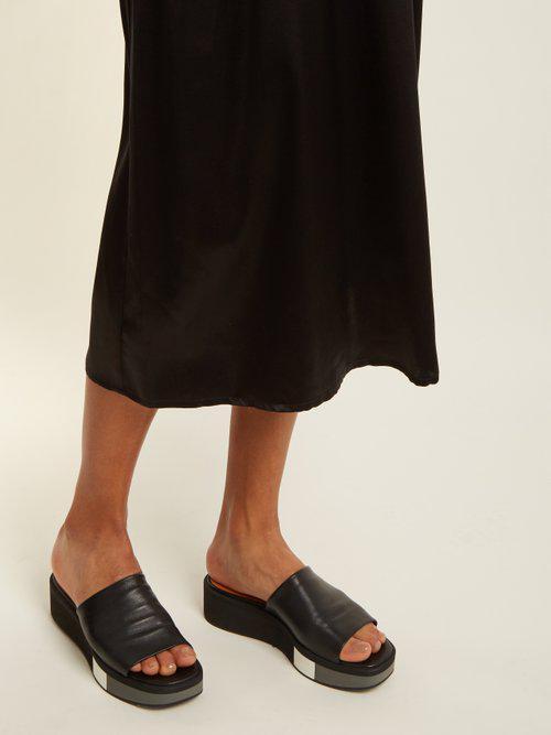 546c01f5984 Clergerie Quenor Leather Platform Slides in Black - Lyst