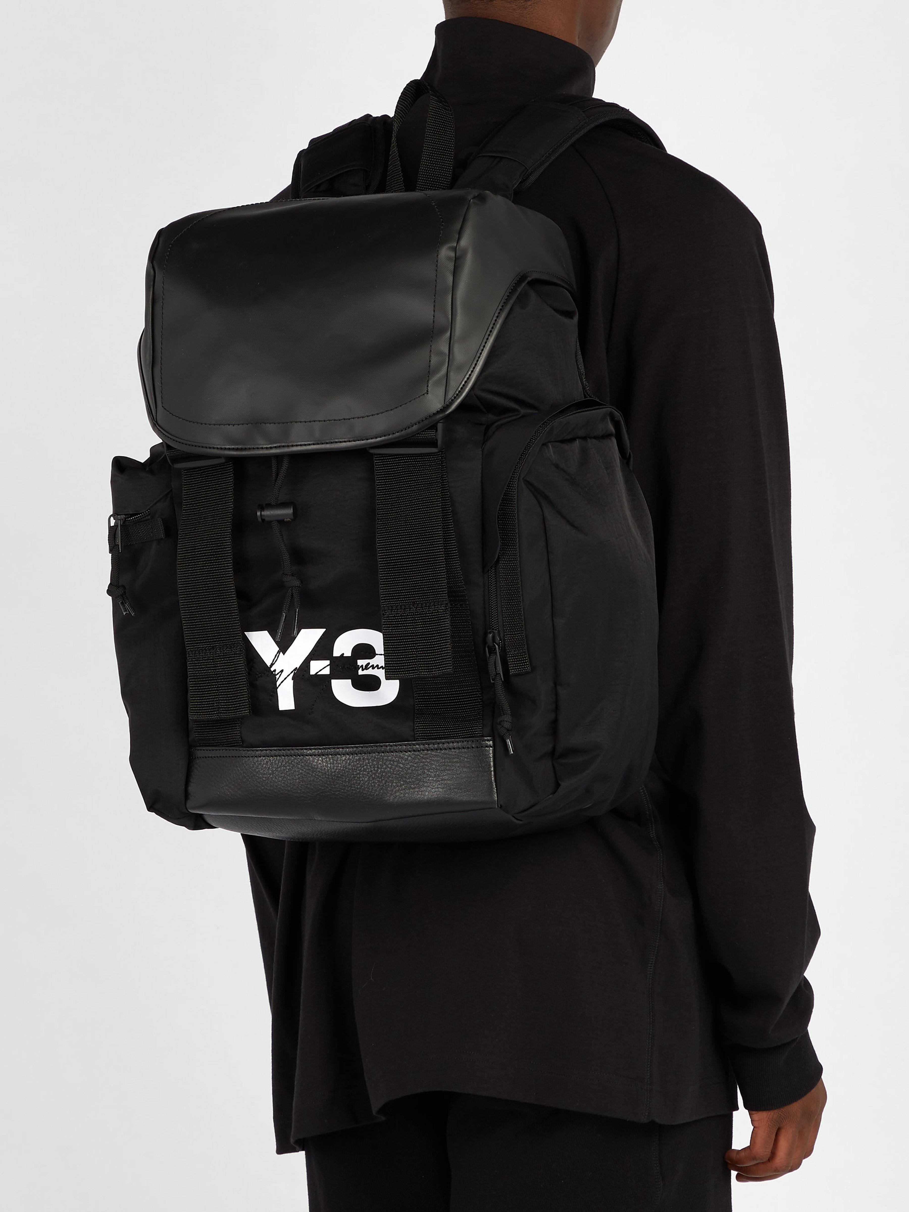 Y-3 - Black Logo-print Backpack for Men - Lyst. View fullscreen d273683657