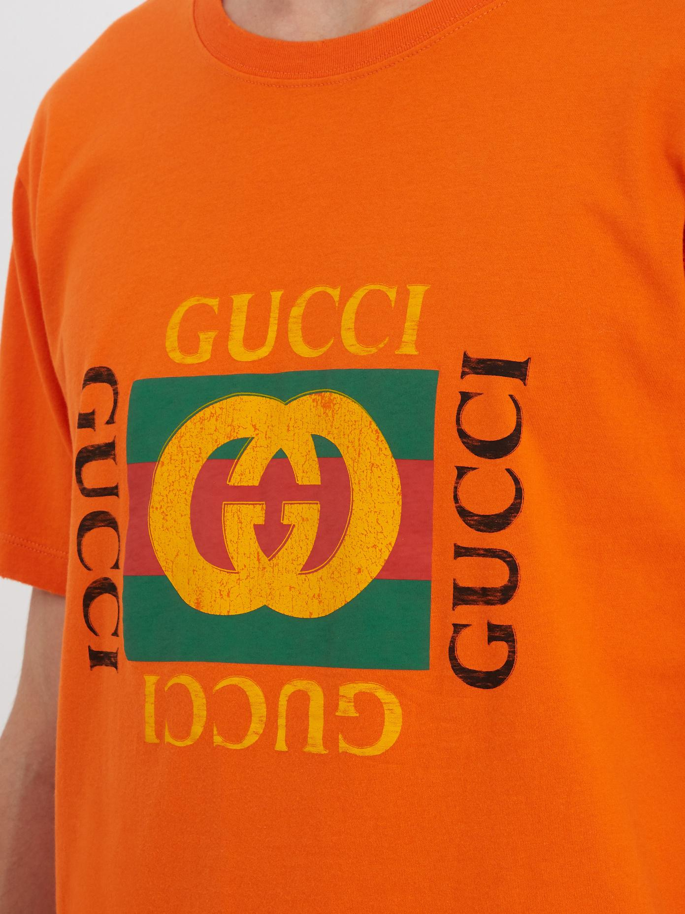 ebf9be3a84745 Lyst - Gucci Logo Cotton T-shirt in Orange for Men