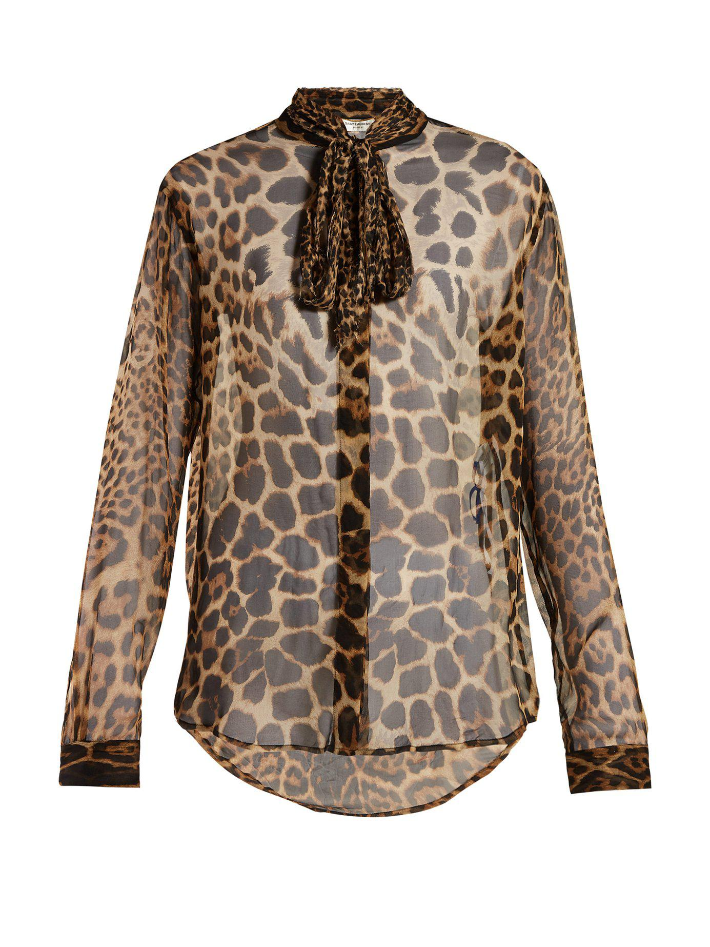c0c197ed Saint Laurent Leopard Print Silk Georgette Blouse in Brown - Save 64 ...