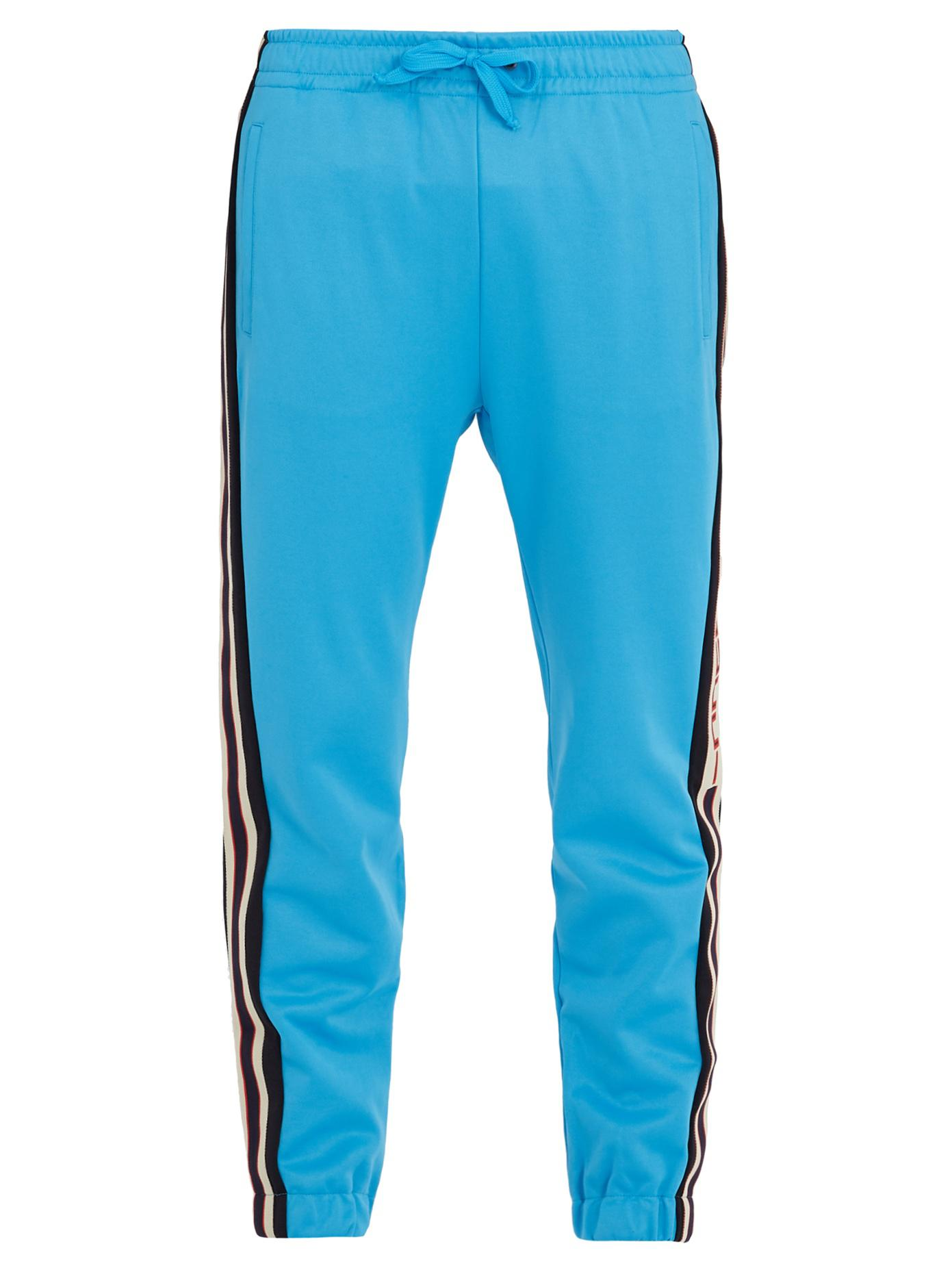 Gucci Synthetic Side Stripe Tapered Leg Jersey Track Pants