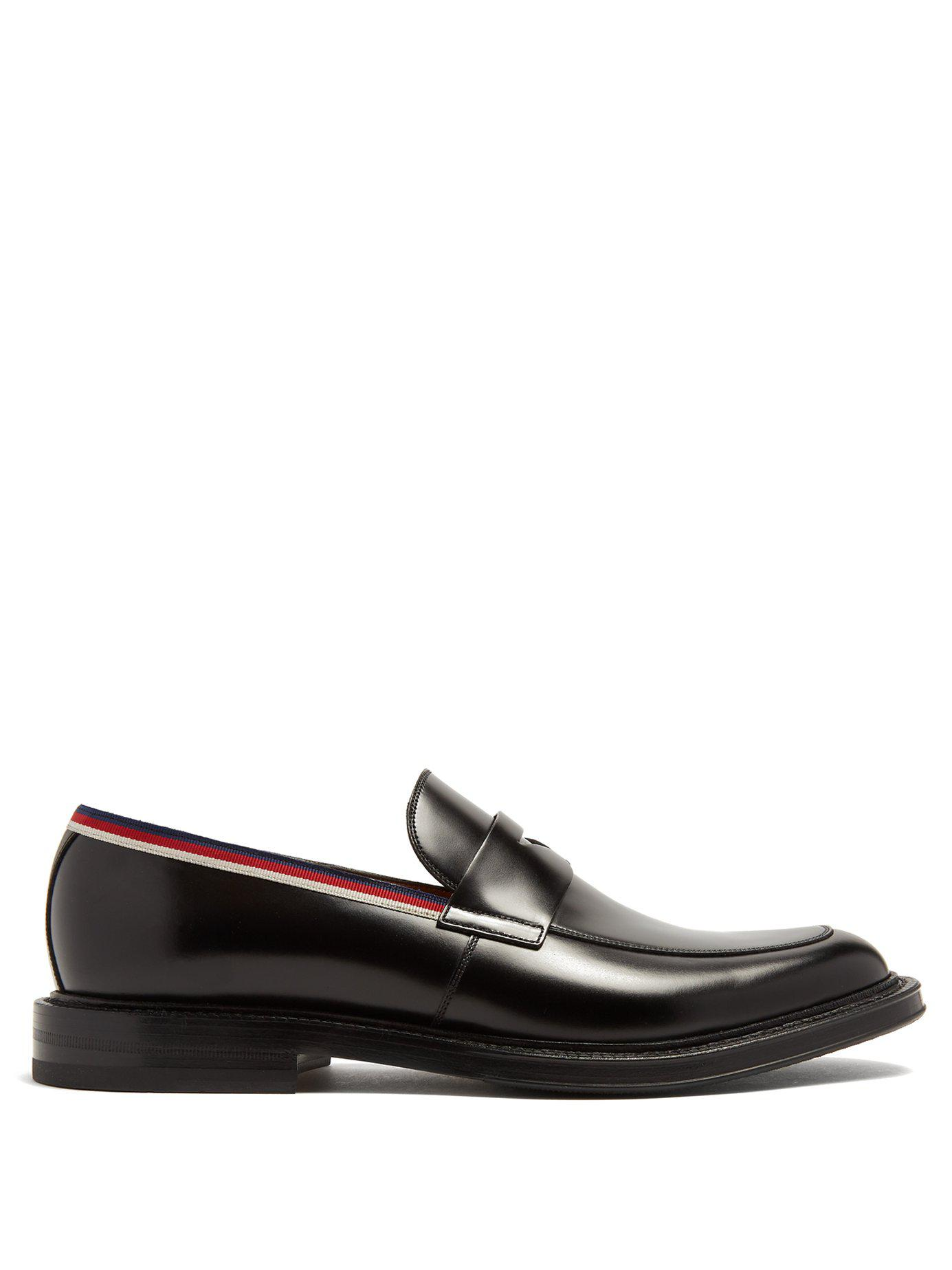 679562c61d9 Lyst - Gucci Beyond Web Striped Embellished Leather Loafers in Black ...