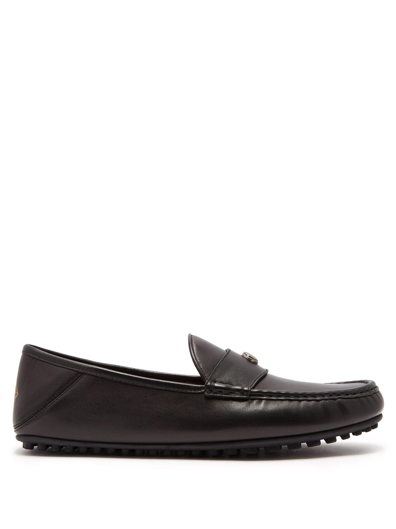 d5fa3c4b0cc Gucci Soft Leather Moccasin Loafers in Black for Men - Lyst