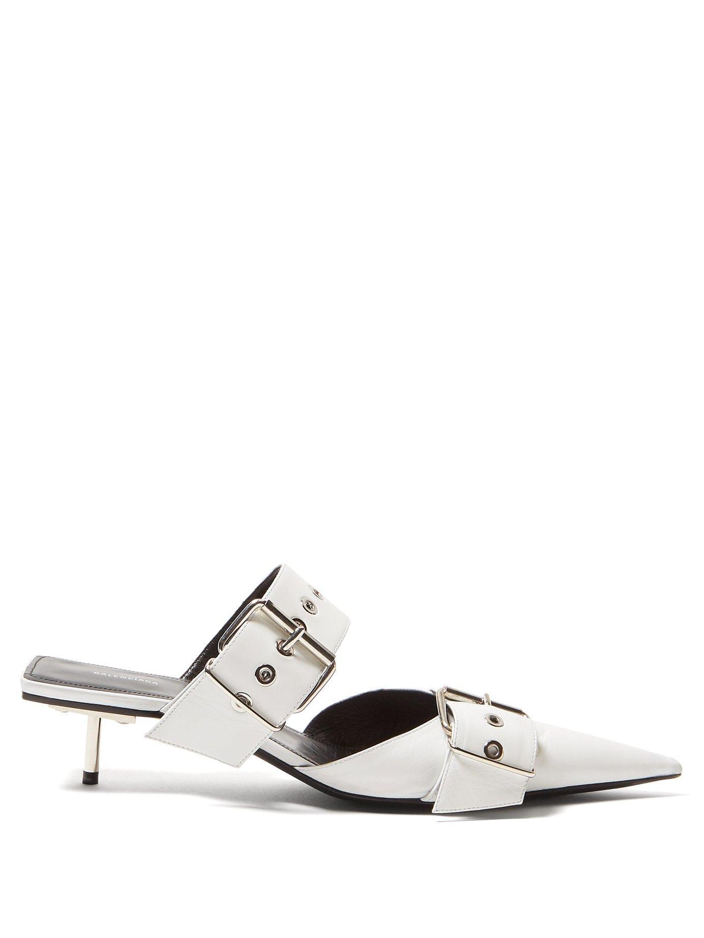 c49e513ce714 Lyst - Balenciaga Belt Buckle Leather Mules in White