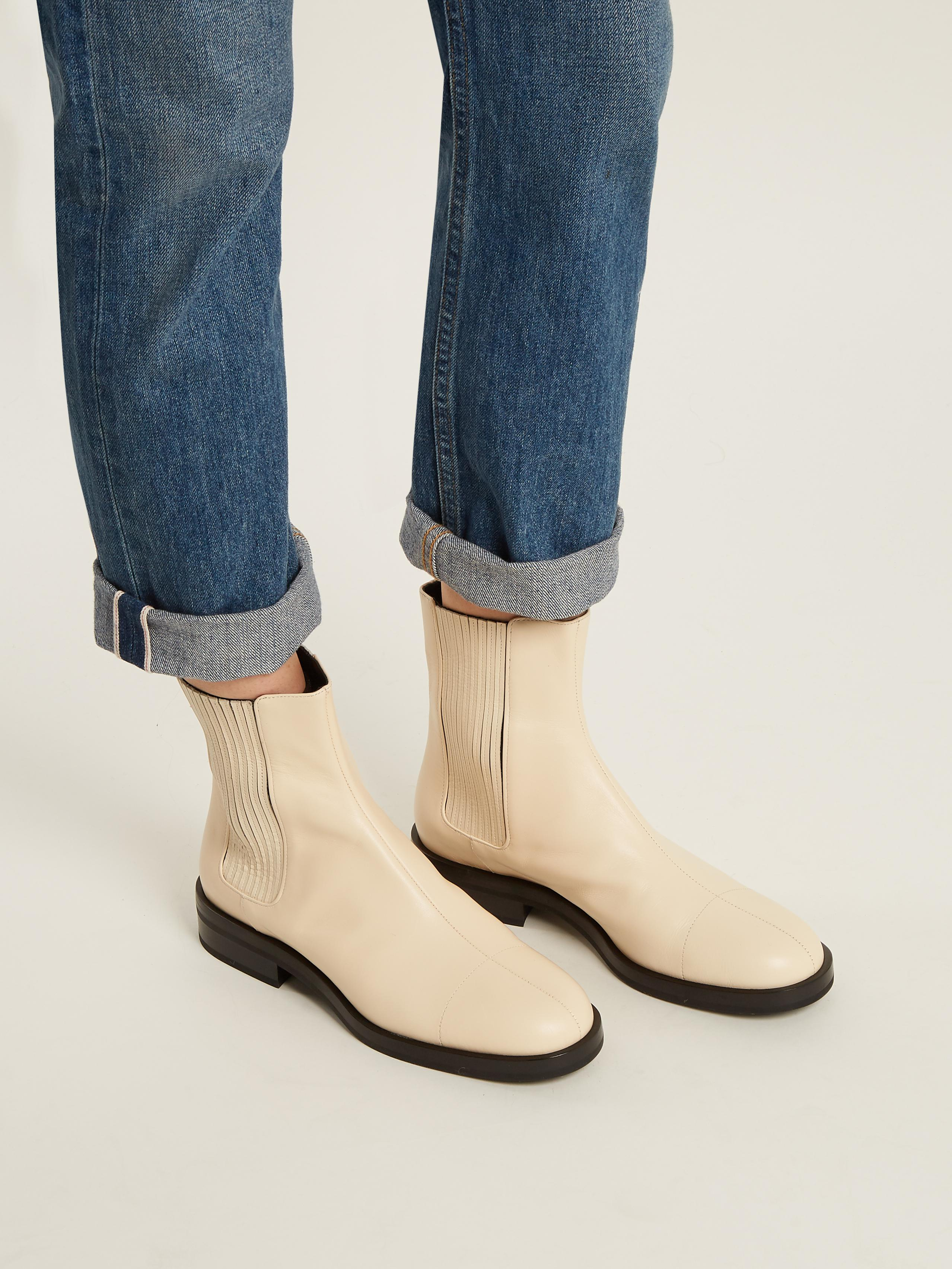Jil Sander Contrast-sole Leather Ankle Boots in Cream (Natural)
