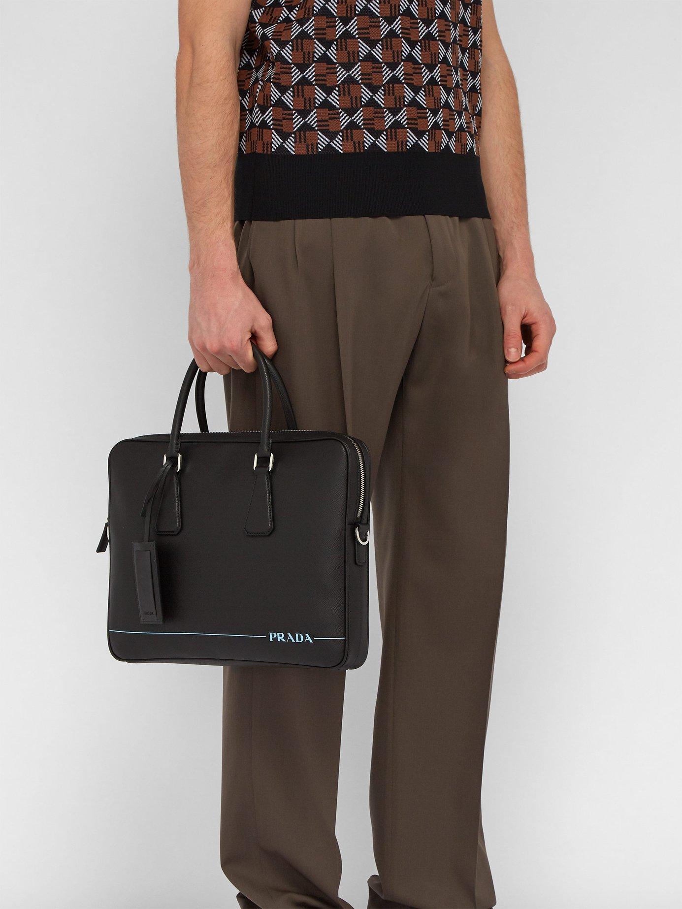 acb4ca468af5 Lyst - Prada Saffiano Leather Briefcase in Black for Men