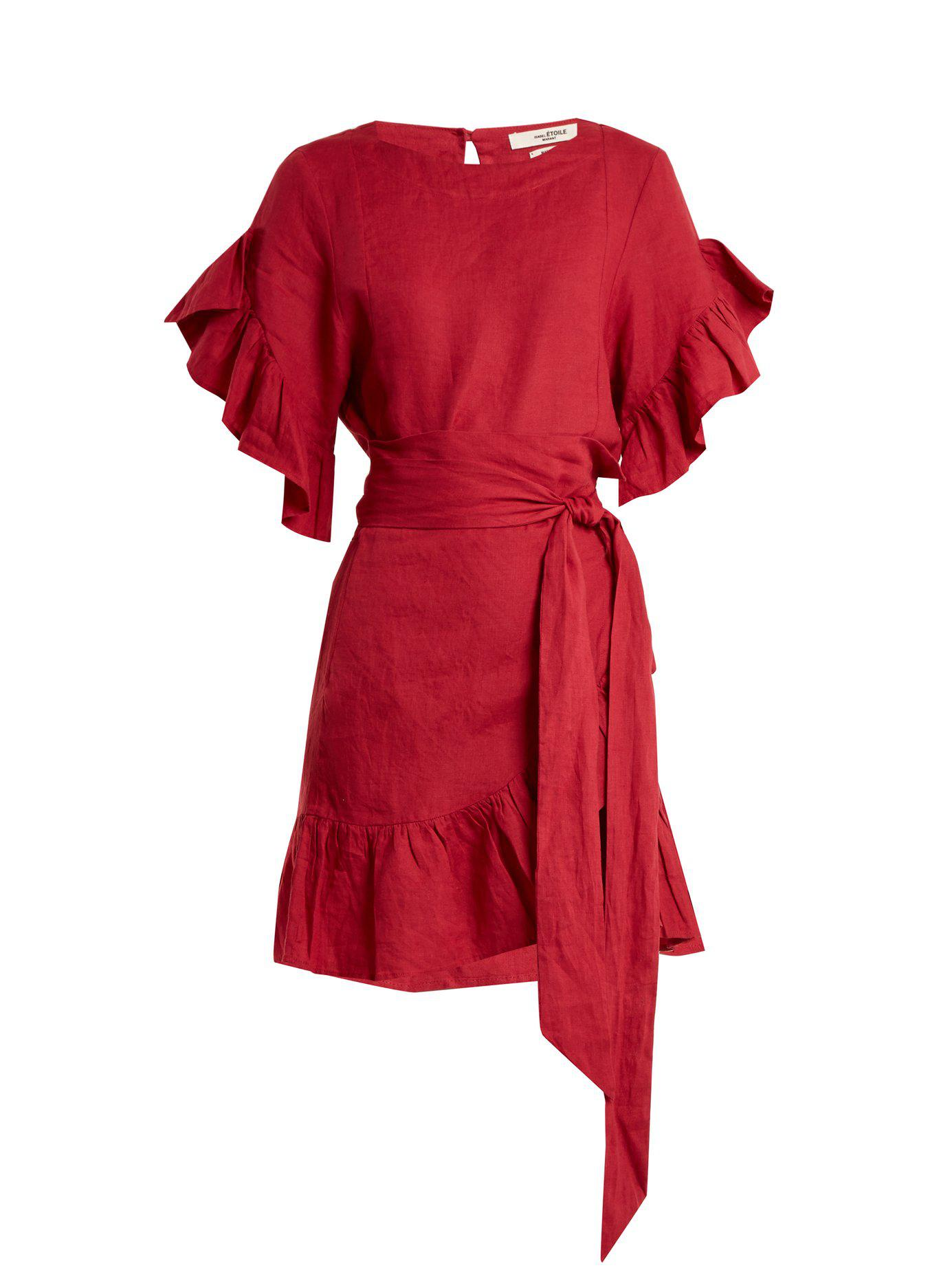 Red Delicia À Isabel Portefeuille Coloris Étoile Marant Robe En Lin Volants gY6vyIbf7