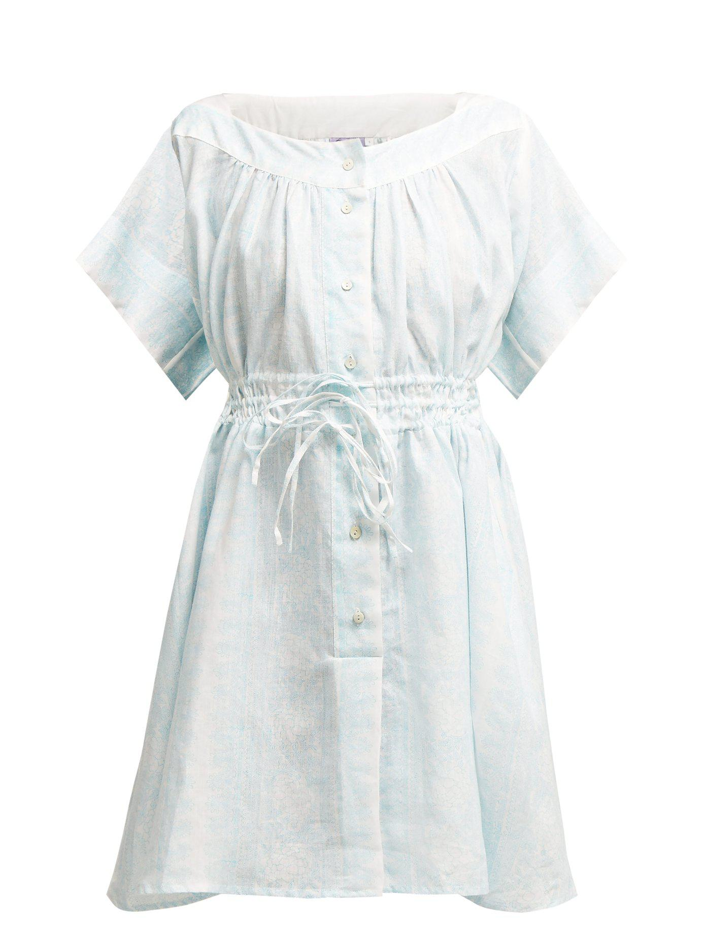 942ae97c62 Lyst - Thierry Colson Tania Floral Print Linen Dress in Blue