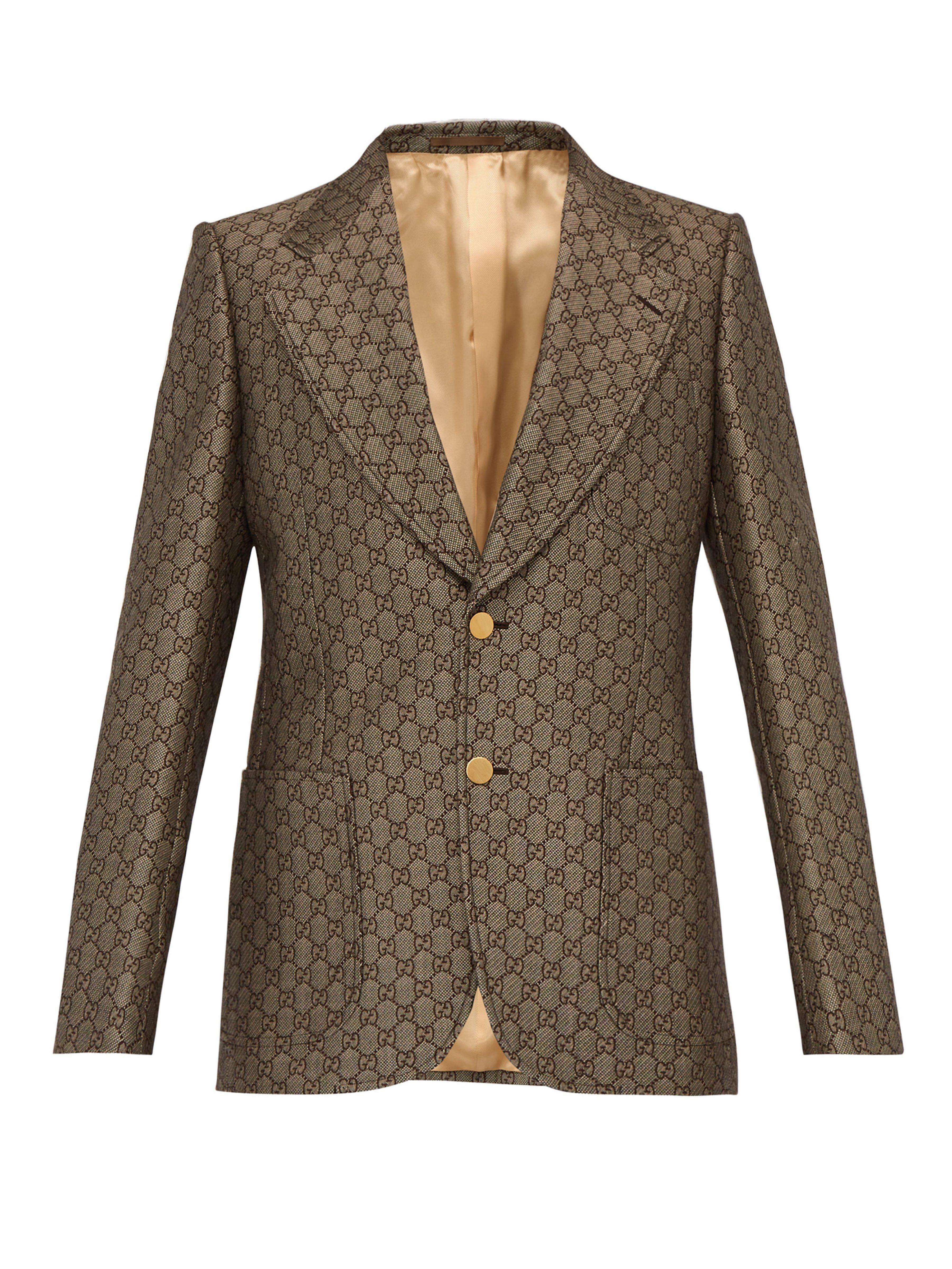 Lyst - Veste de costume à boutonnage simple et logo GG Gucci pour ... 1cf88fd8047f