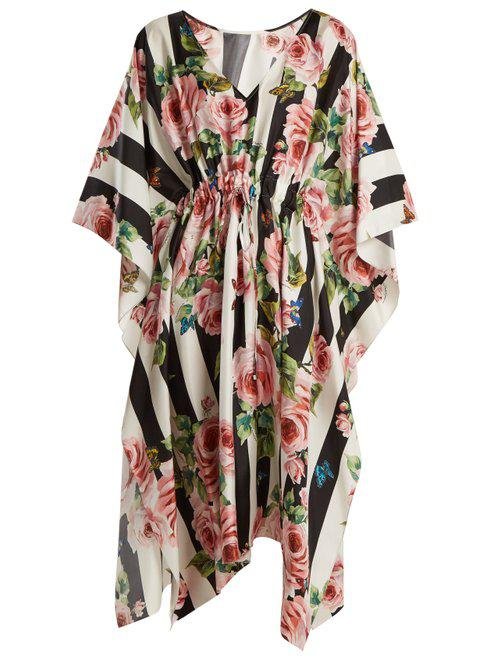 4270dd06d2f99 Lyst - Dolce   Gabbana Rose-print Striped Silk-twill Kaftan in Black