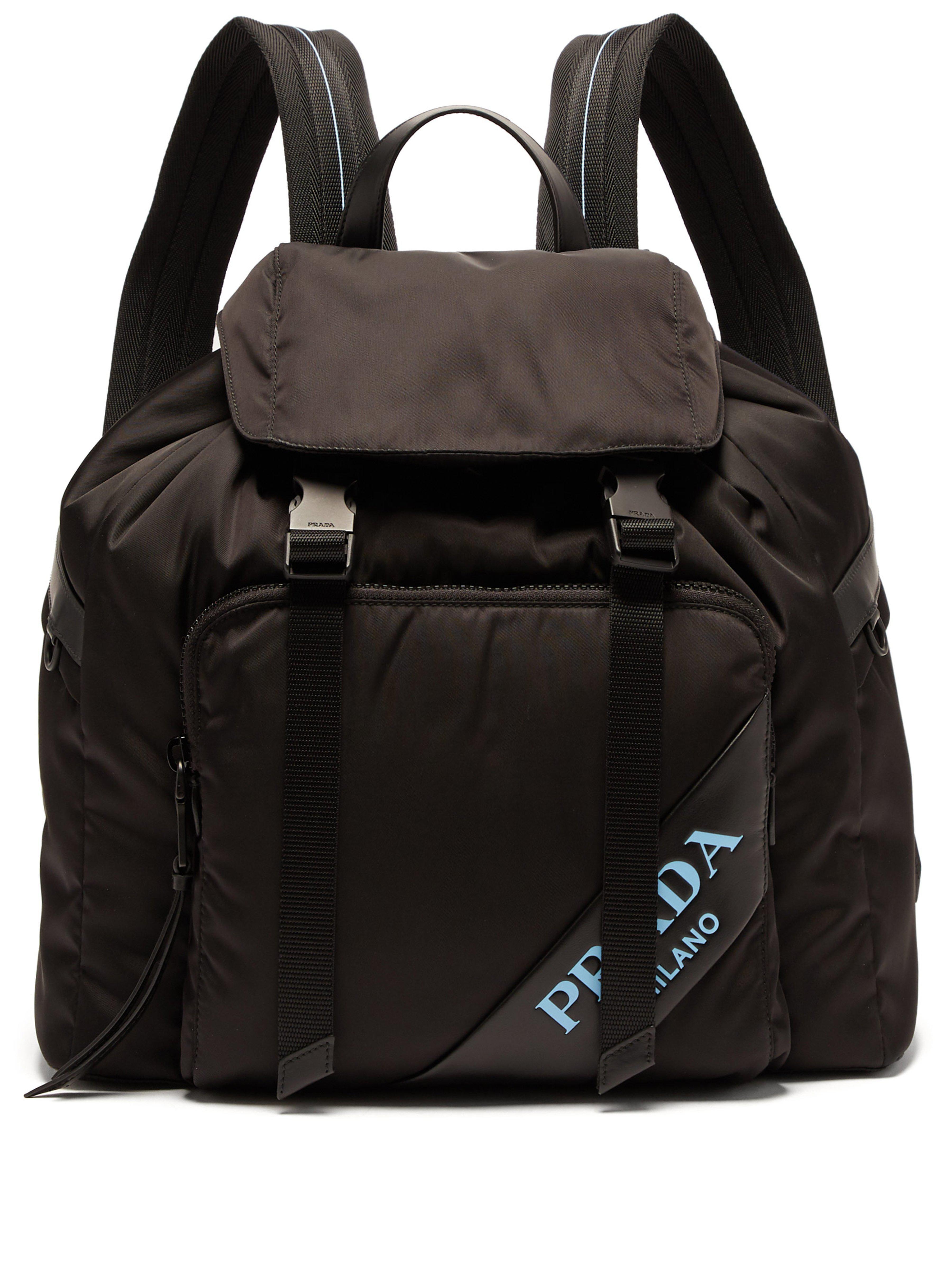 9d99e2e668f9 Prada - Black Logo Nylon Backpack - Lyst. View fullscreen