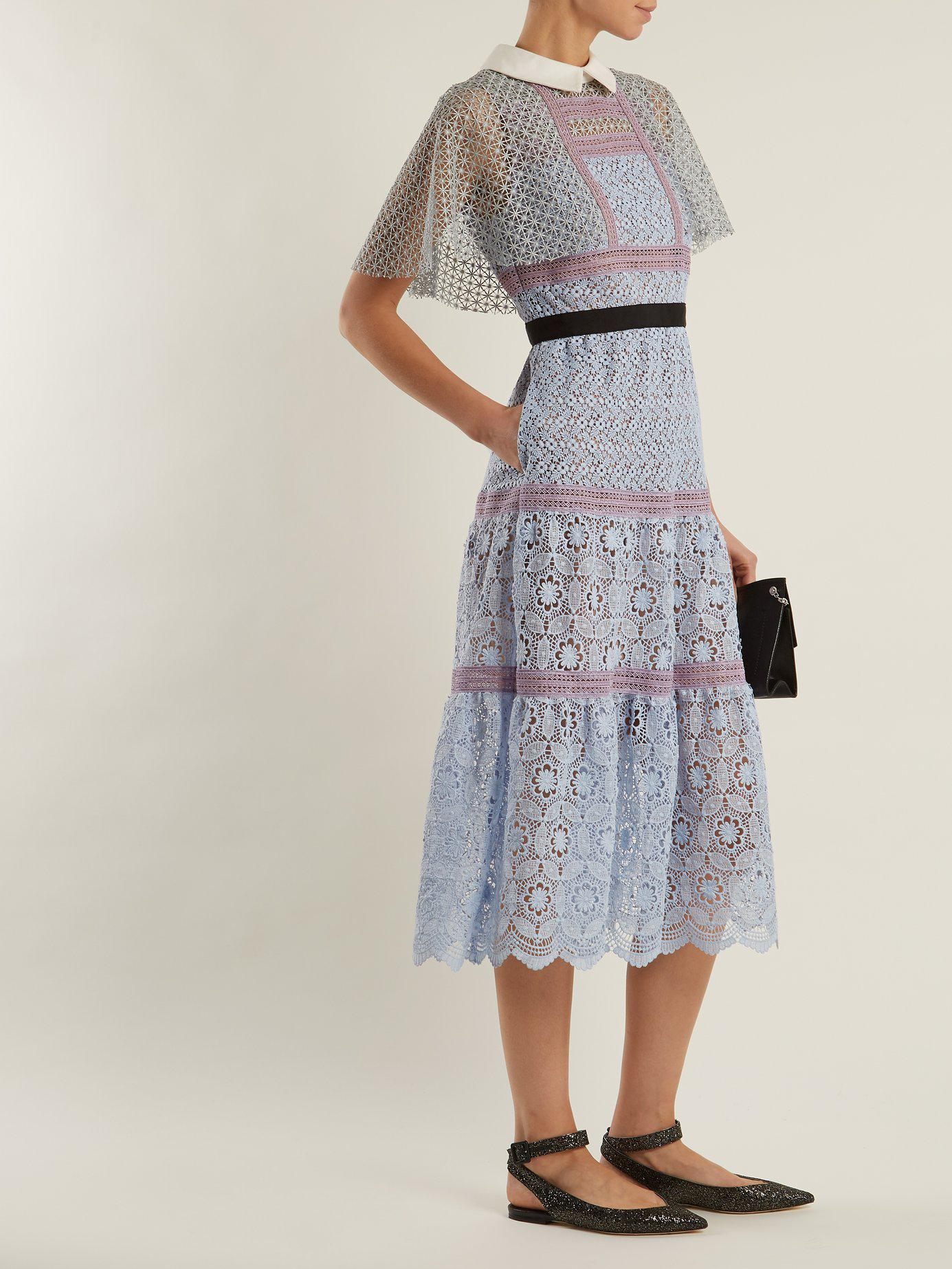 efbe909d327f Self-Portrait Contrast-collar Floral-lace Midi Dress in Blue - Lyst