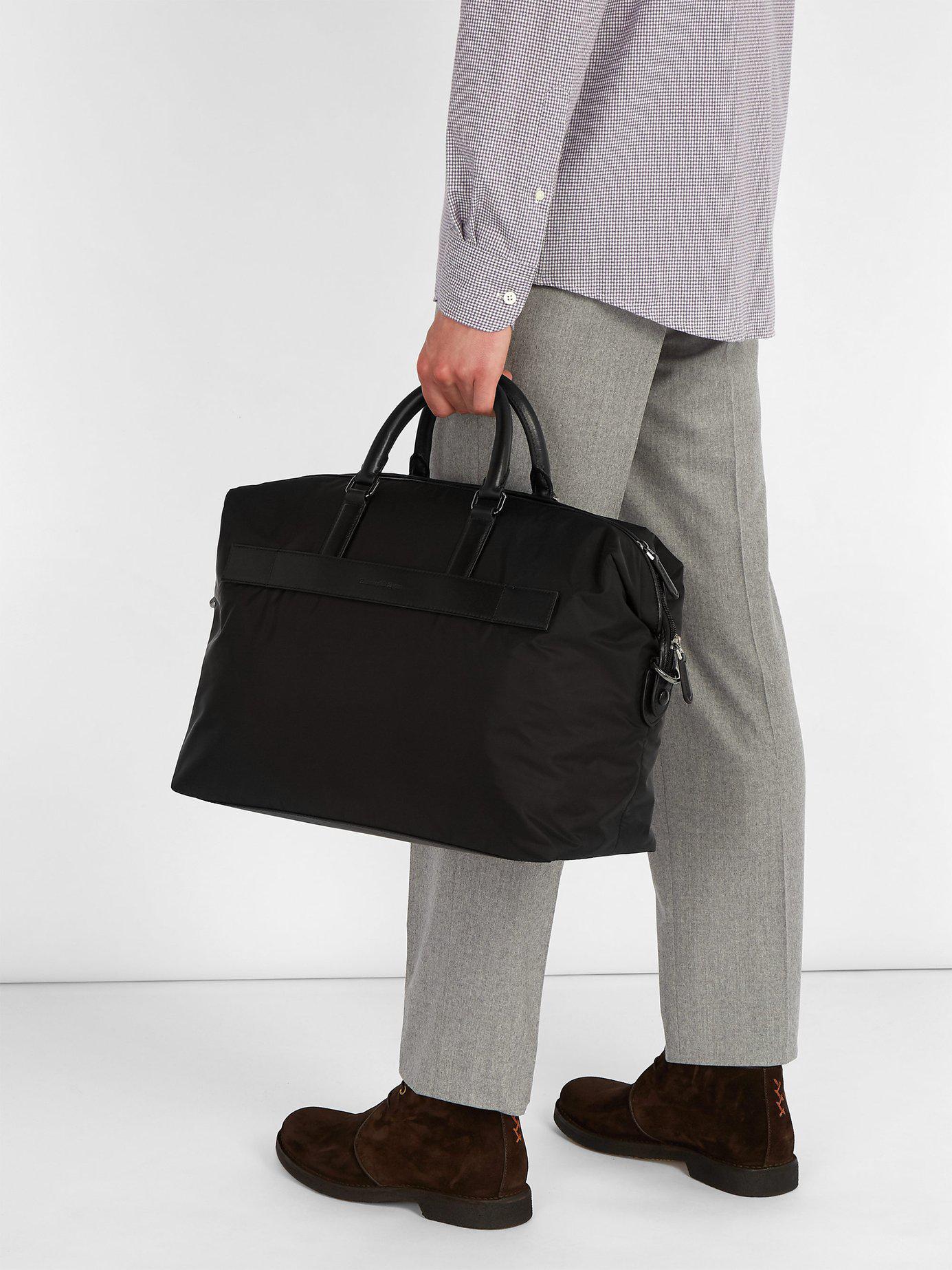 25ae3154c Ermenegildo Zegna Black Pelle Tessuta Leather Holdall for men
