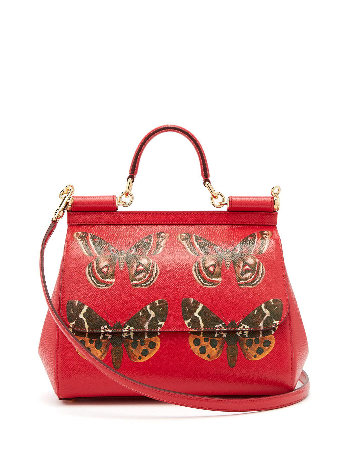 Dolce   Gabbana. Women s Red Sicily Medium Butterfly Print Dauphine Leather  Bag c091a73d46