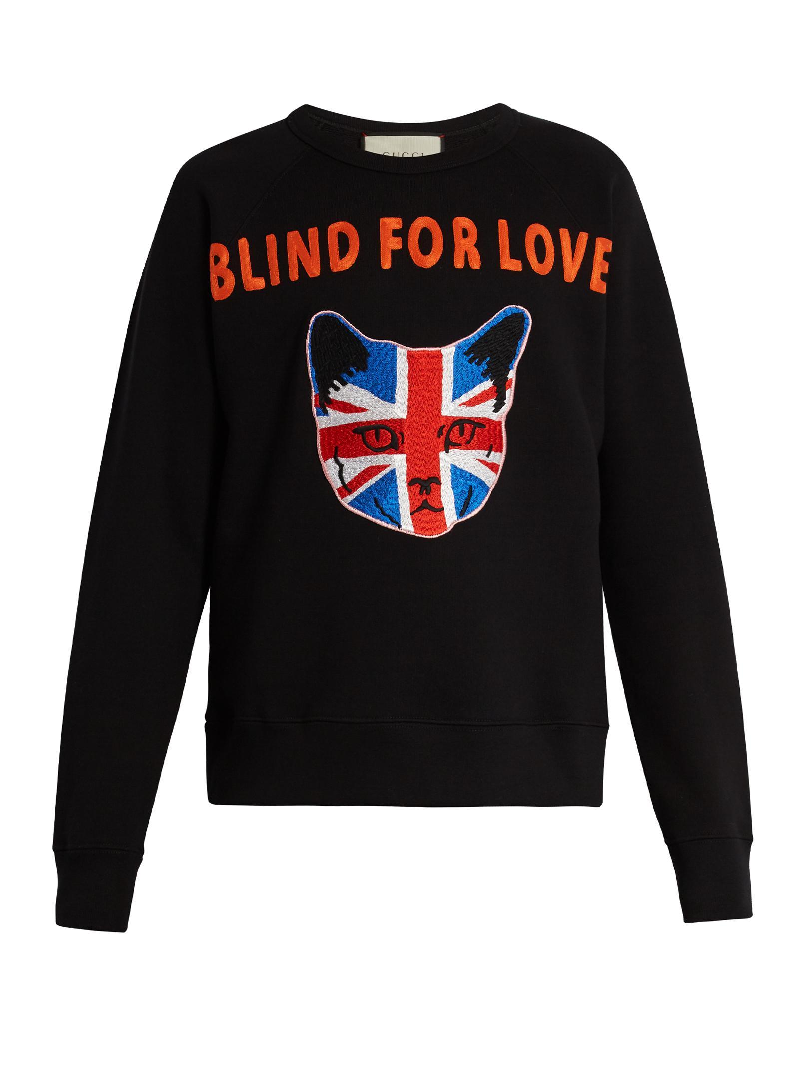 Gucci Union Jack Cat Appliqu 233 Cotton Sweatshirt In Black