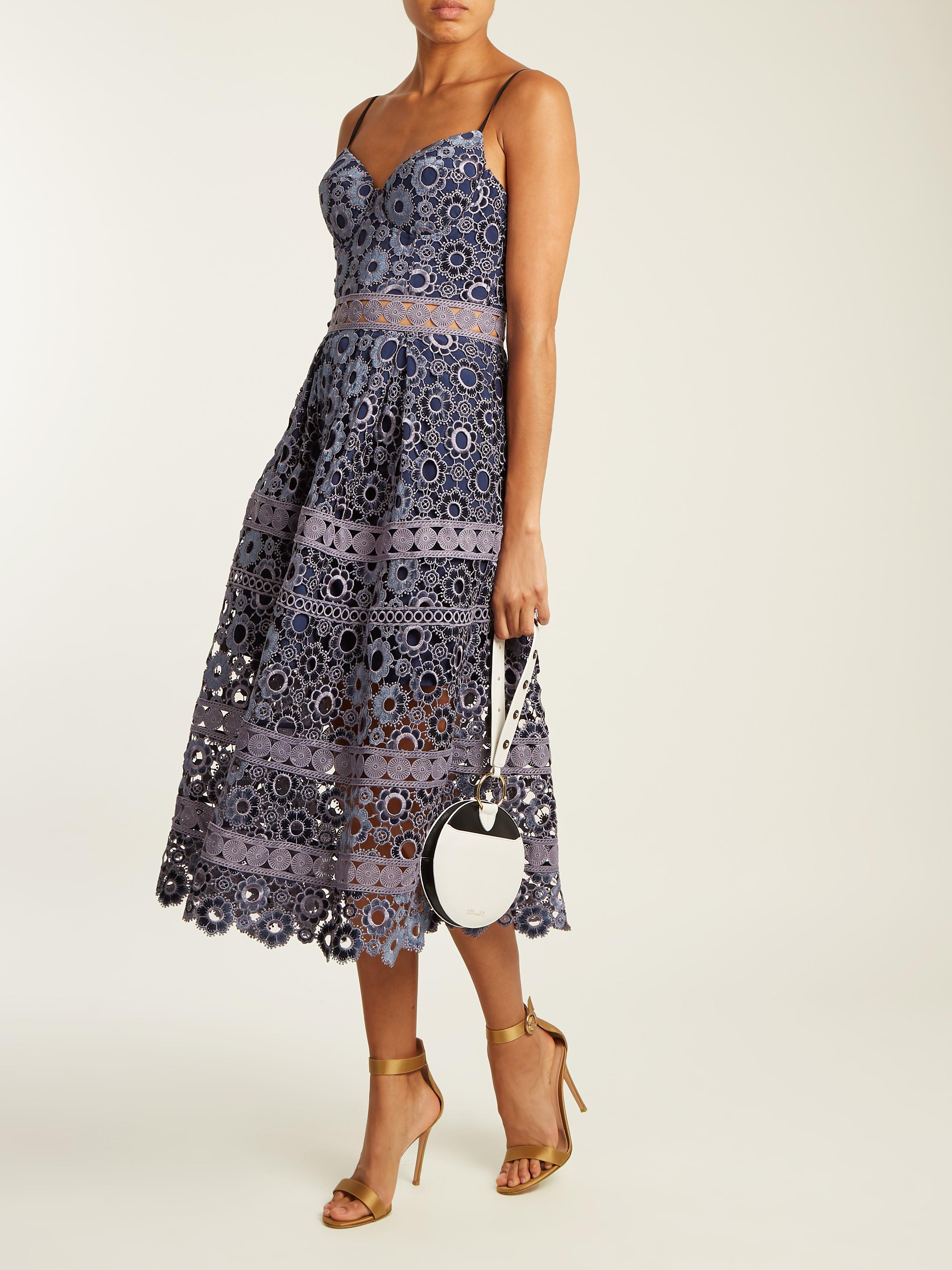 Self-portrait Floral embroidered cut-out midi dress