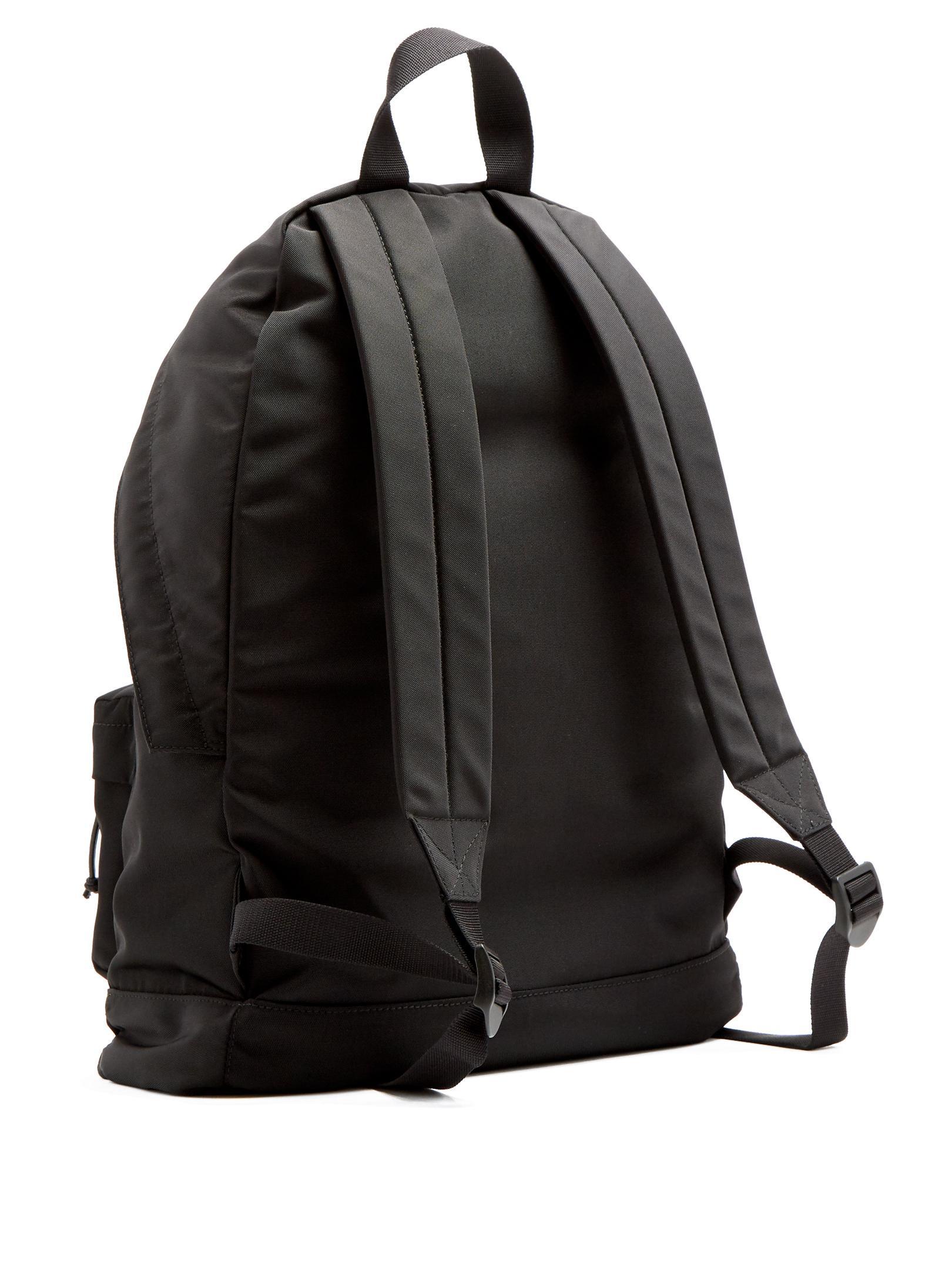 Balenciaga Logo-embroidered Canvas Backpack in Black for Men