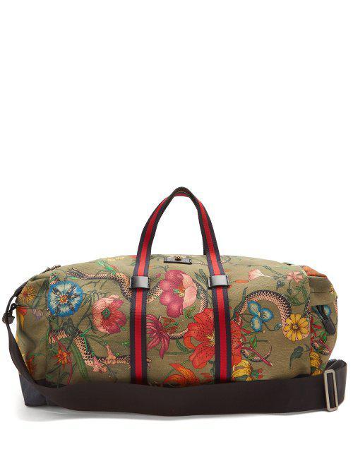 dcdc3fd6cd13fd Gucci Floral-print Web-striped Duffle Bag for Men - Lyst